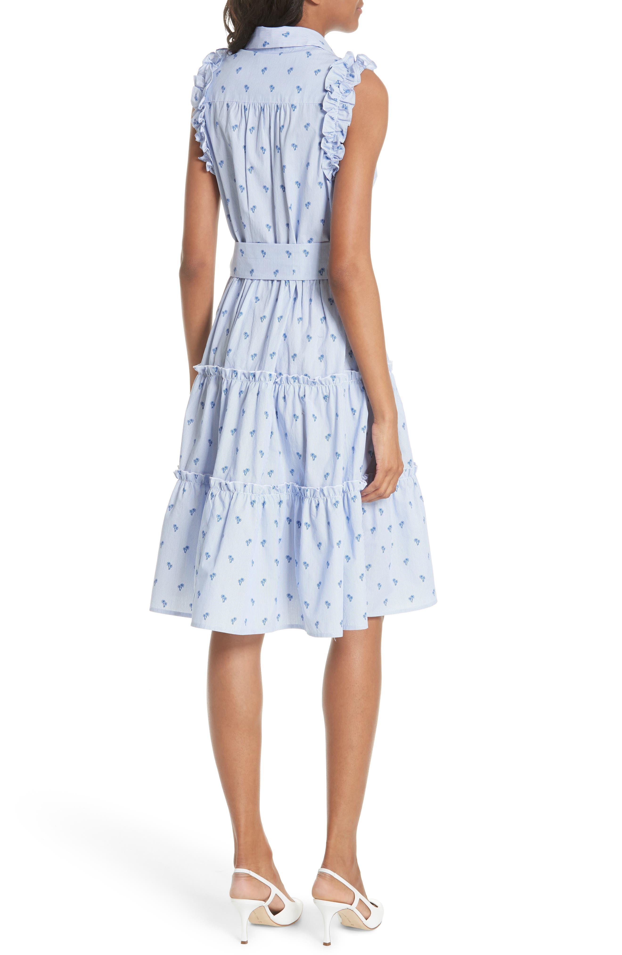 palm tree pinstripe sleeveless cotton dress,                             Alternate thumbnail 2, color,                             436