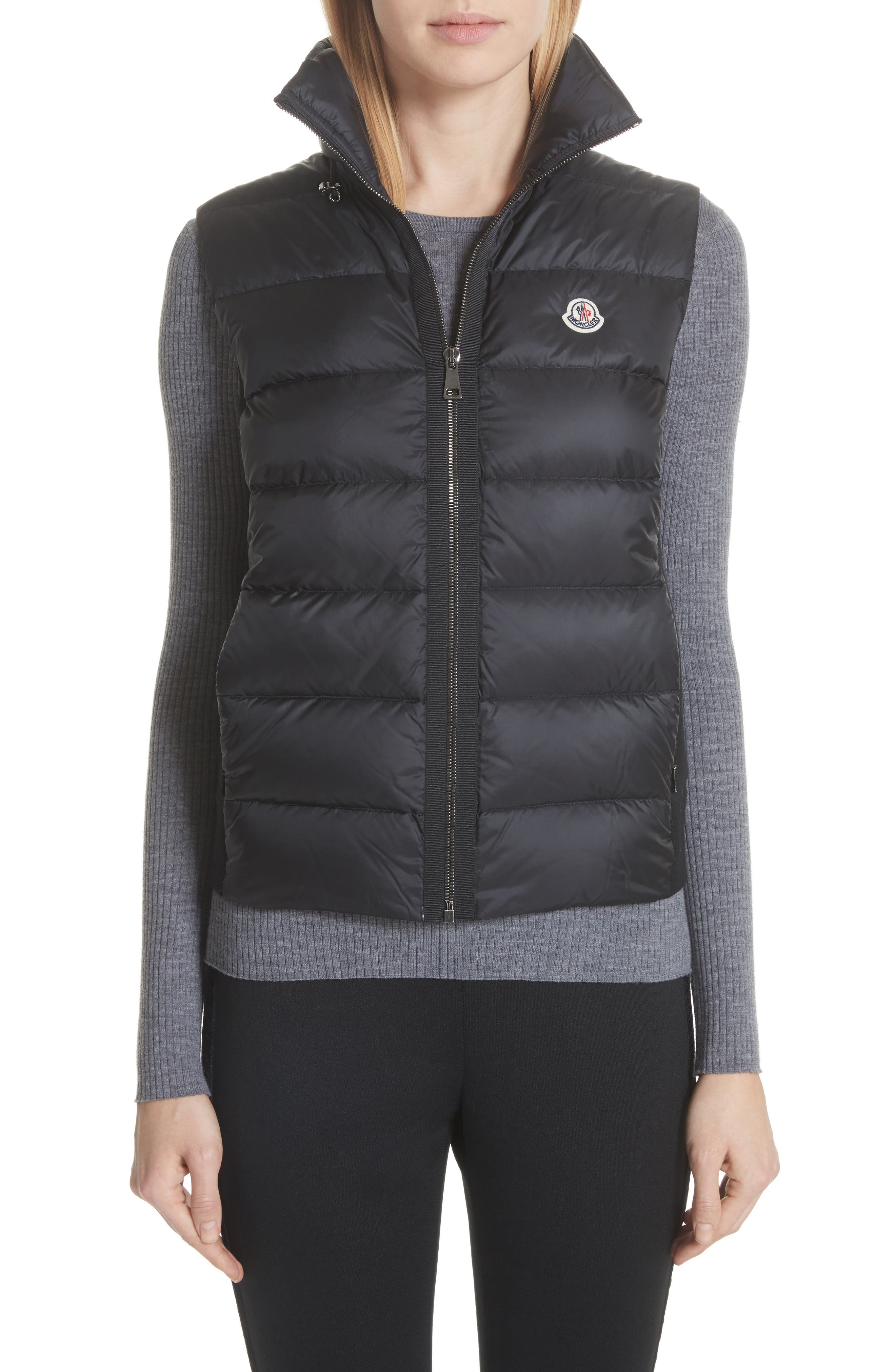 Moncler Down Quilted Fleece Vest, Black