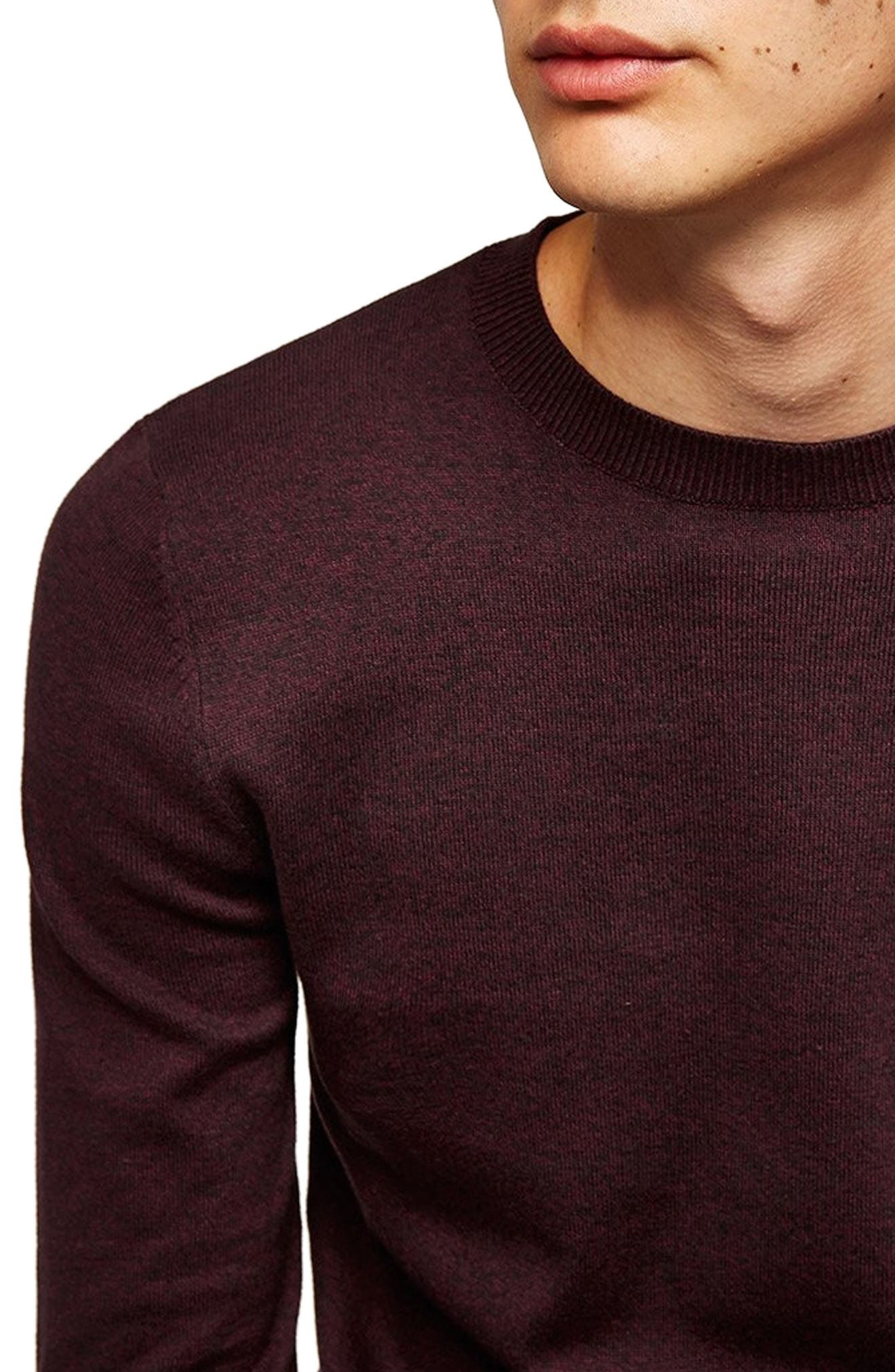 Classic Crewneck Sweater,                             Alternate thumbnail 3, color,                             BURGUNDY