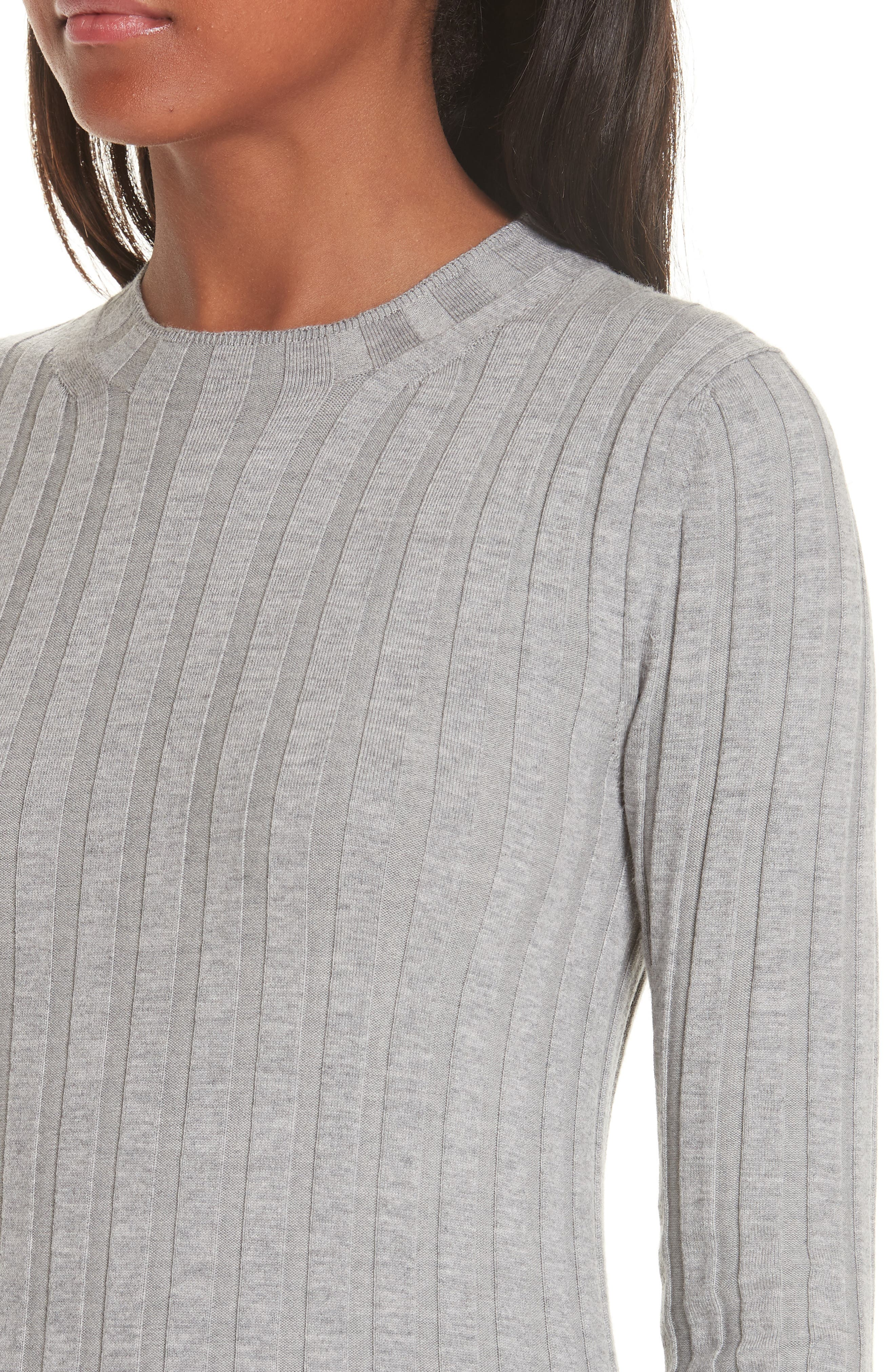 Carina Fitted Crewneck Sweater,                             Alternate thumbnail 4, color,                             SILVER GREY