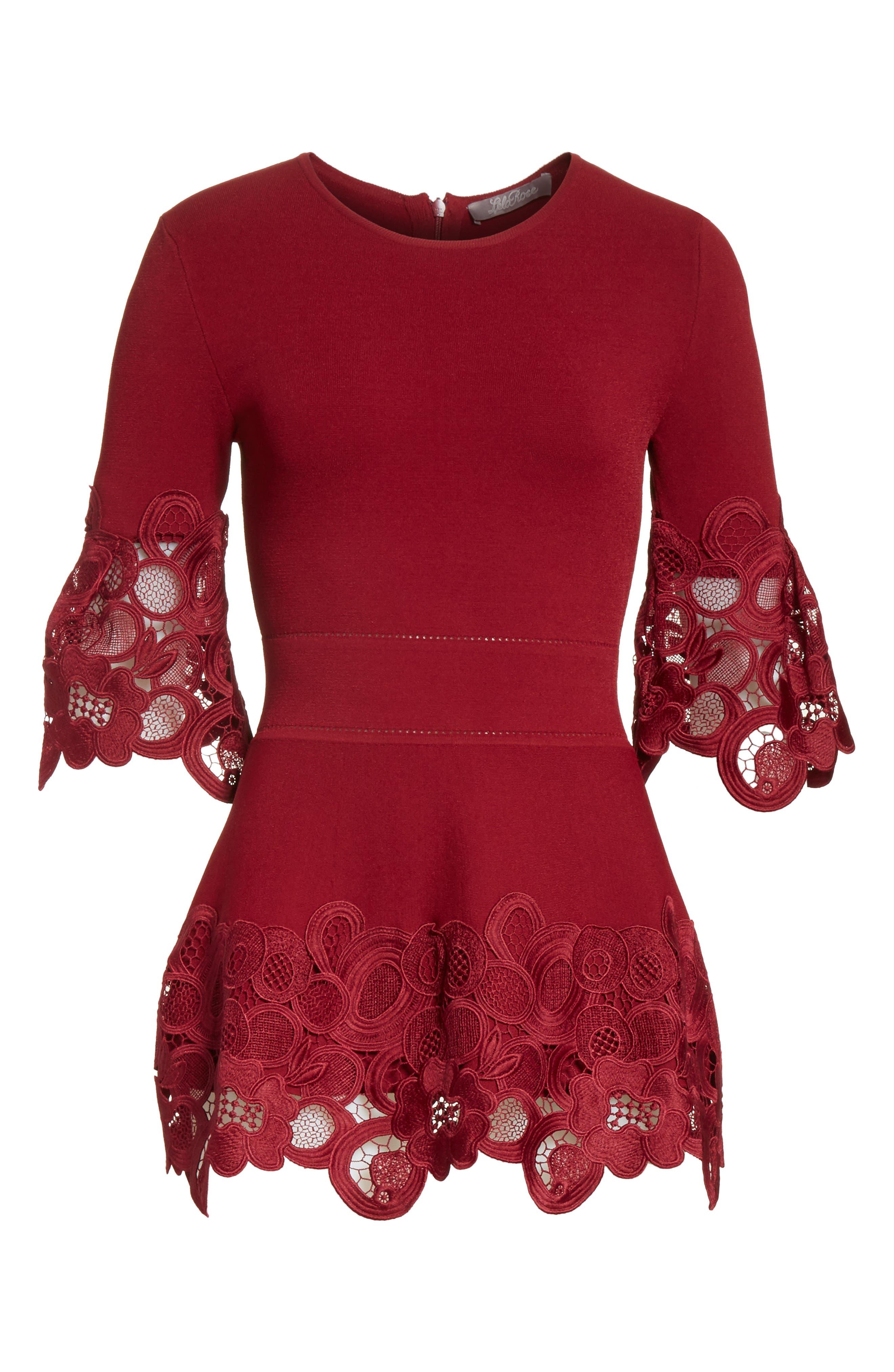 Lace Hem Knit Top,                             Alternate thumbnail 6, color,                             604