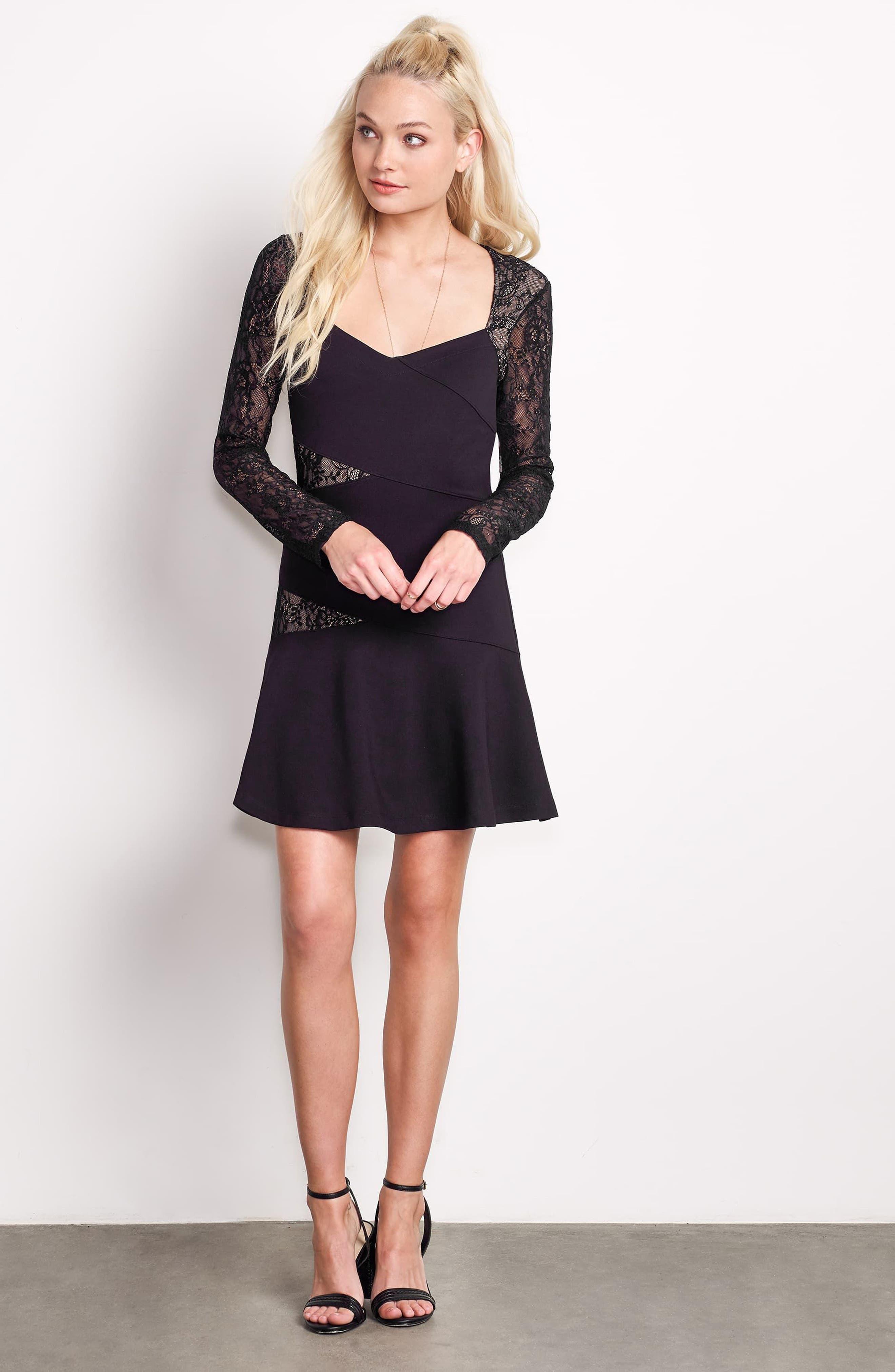 L'Arc Ponte Knit Fit & Flare Dress,                             Alternate thumbnail 7, color,                             001