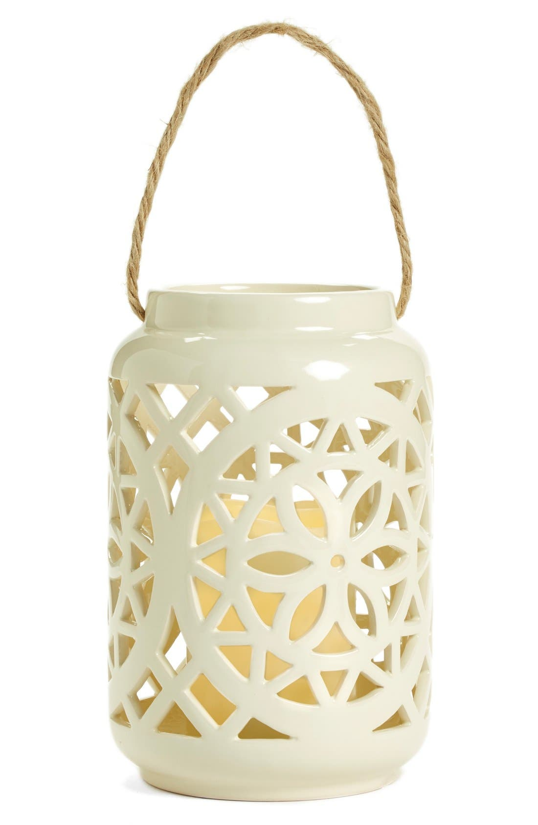 Ceramic Lantern & All-Weather Flameless Candle,                             Alternate thumbnail 6, color,