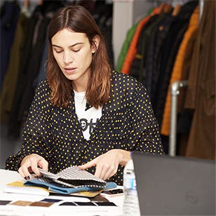 Model and designer Alexa Chung in a Barbour jacket.