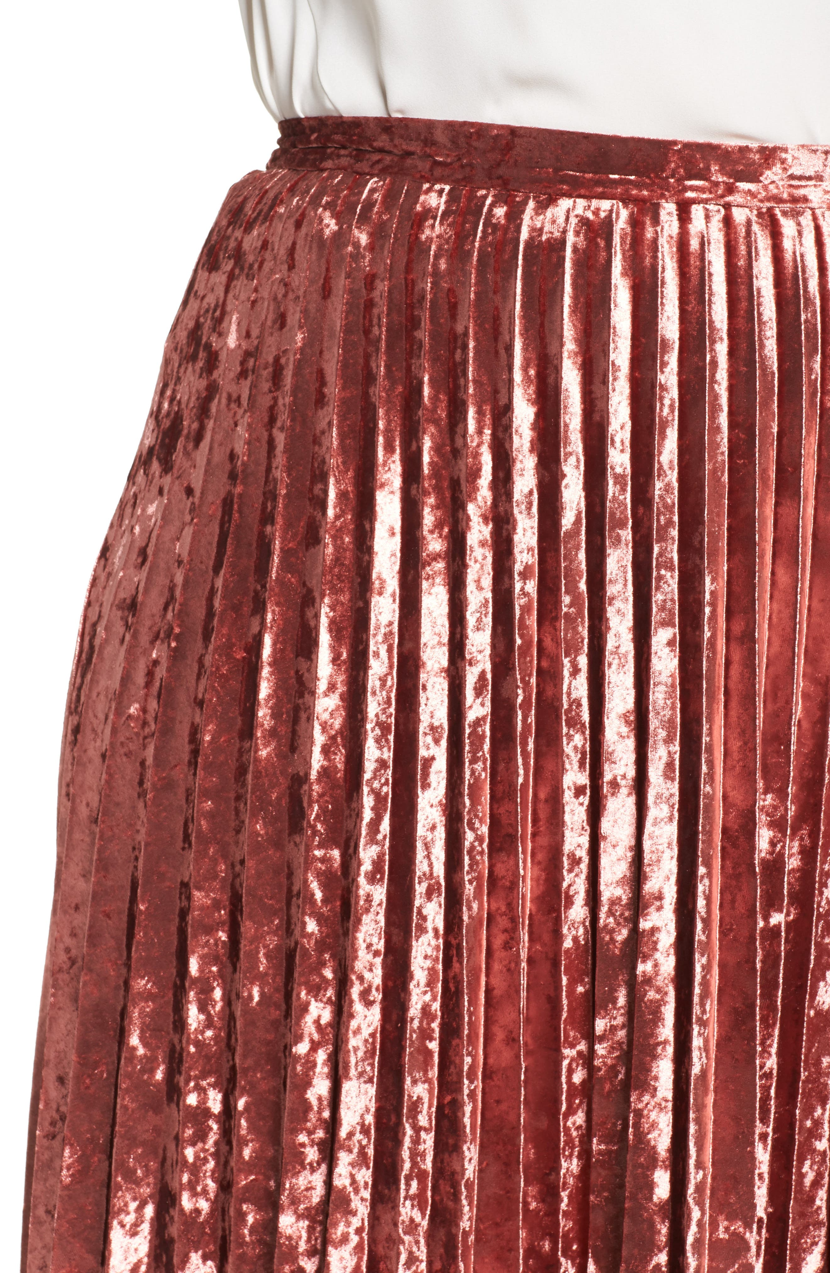 Velvet Pleat Skirt,                             Alternate thumbnail 8, color,
