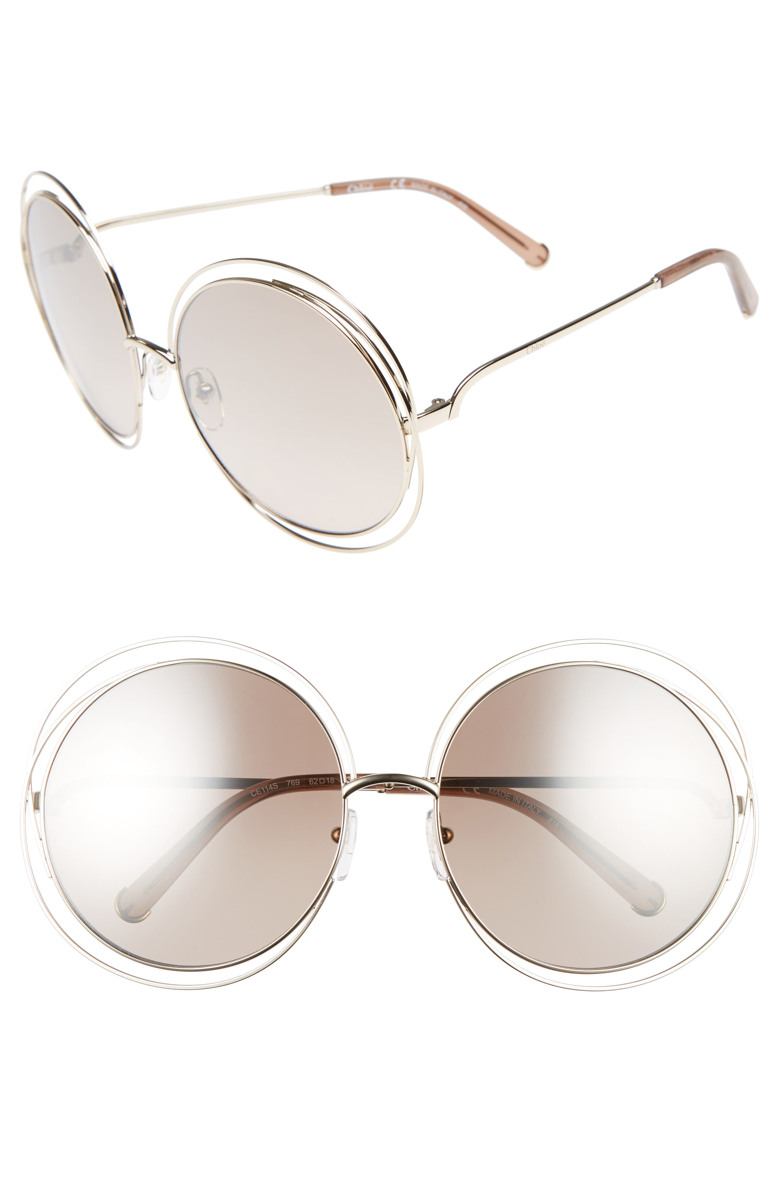 Chloe 62Mm Oversize Sunglasses - Gold/ Clear Brown