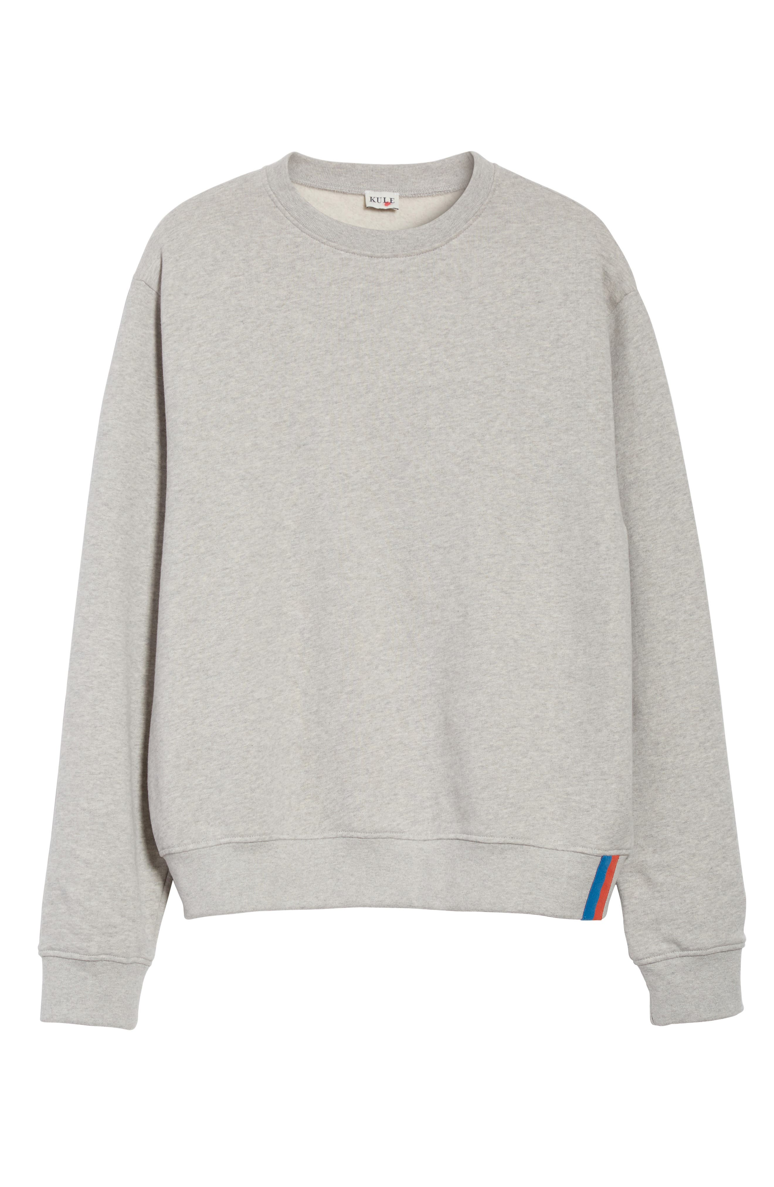 Cotton Sweatshirt,                             Alternate thumbnail 6, color,                             HEATHER GREY