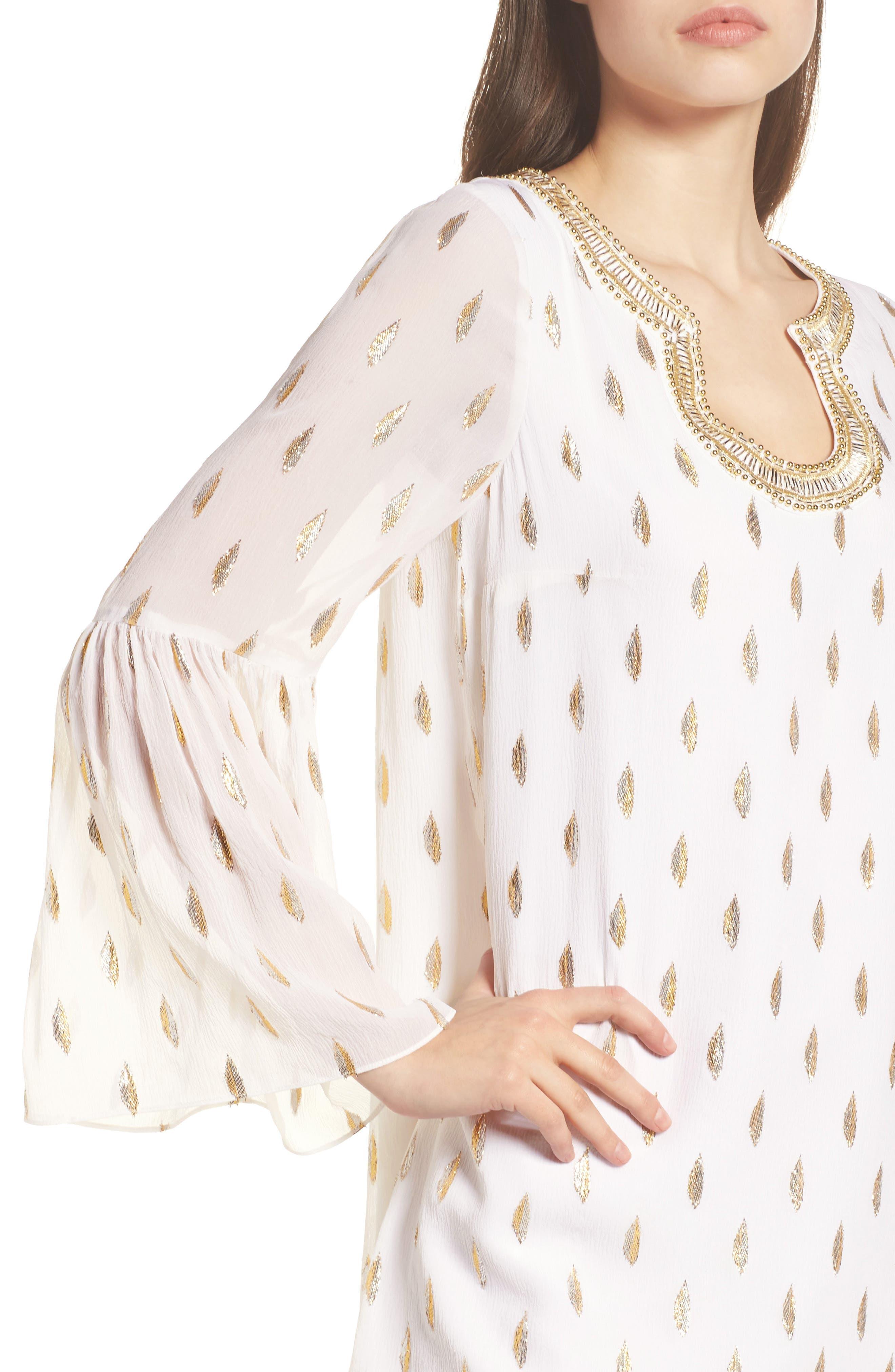 Amory Silk Tunic Dress,                             Alternate thumbnail 4, color,                             100