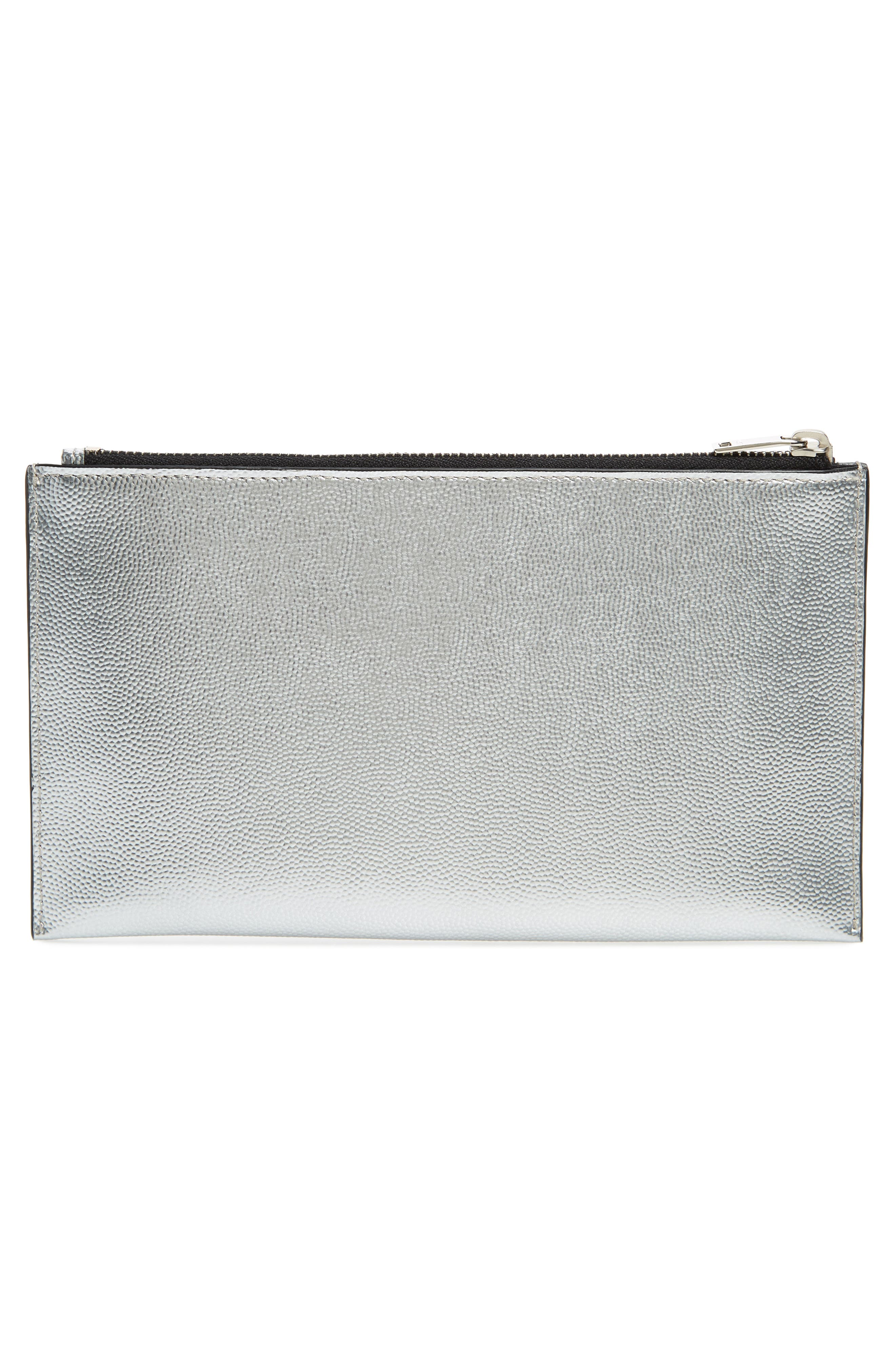 Metallic Leather Pouch,                             Alternate thumbnail 3, color,                             ARGENTO