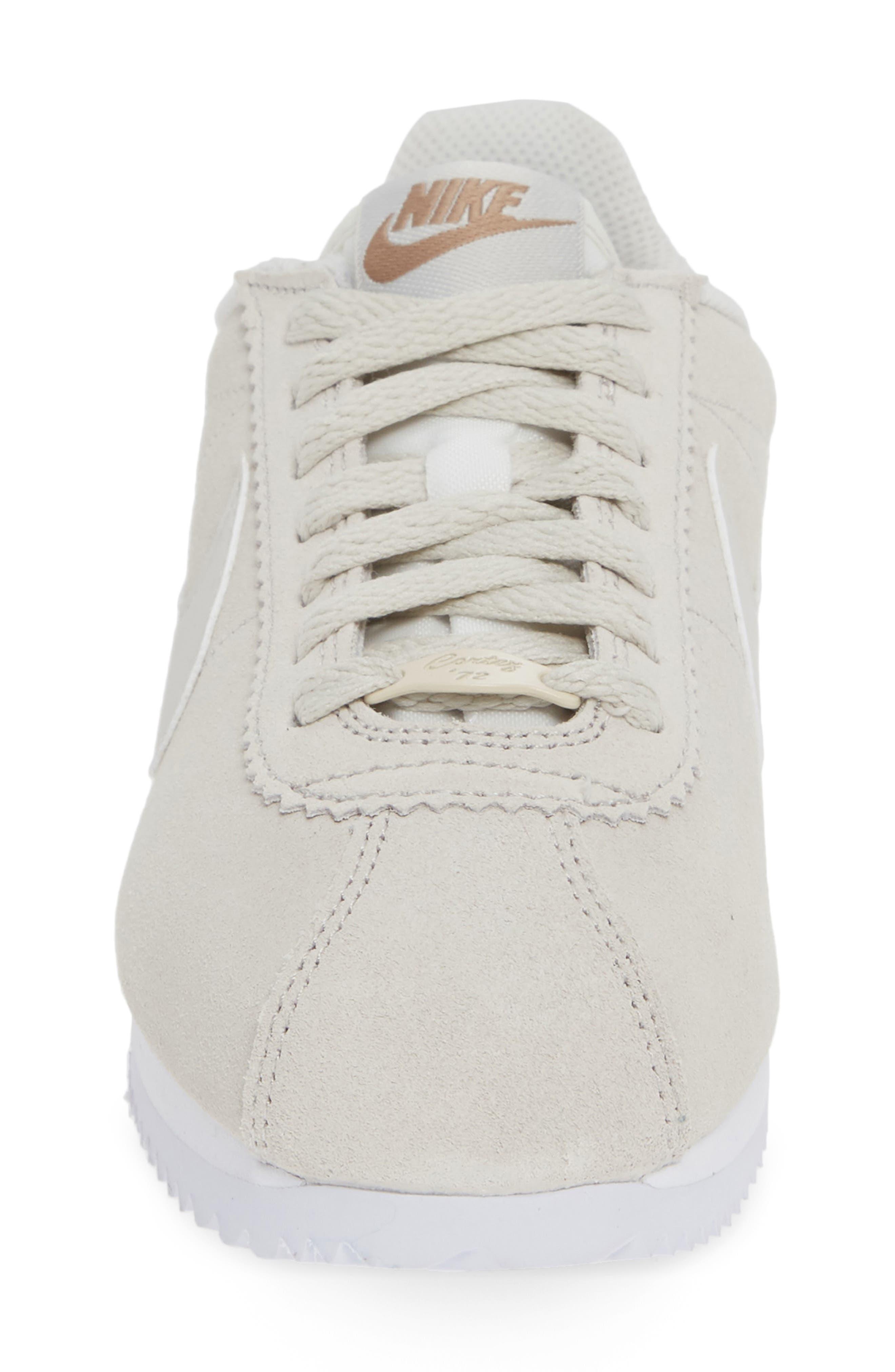 Classic Cortez Premium Sneaker,                             Alternate thumbnail 4, color,                             LIGHT BONE/ CANTEEN