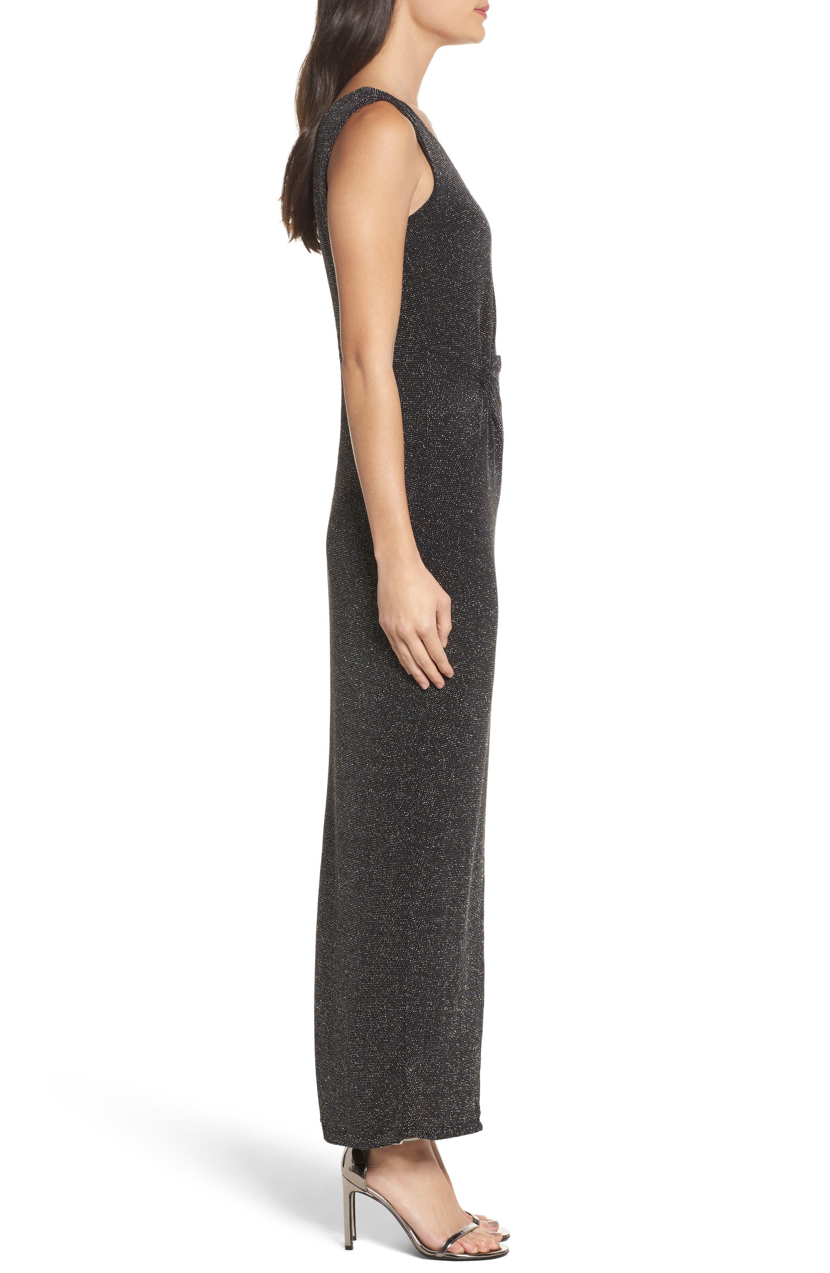 Slit Front One-Shoulder Gown,                             Alternate thumbnail 3, color,                             001