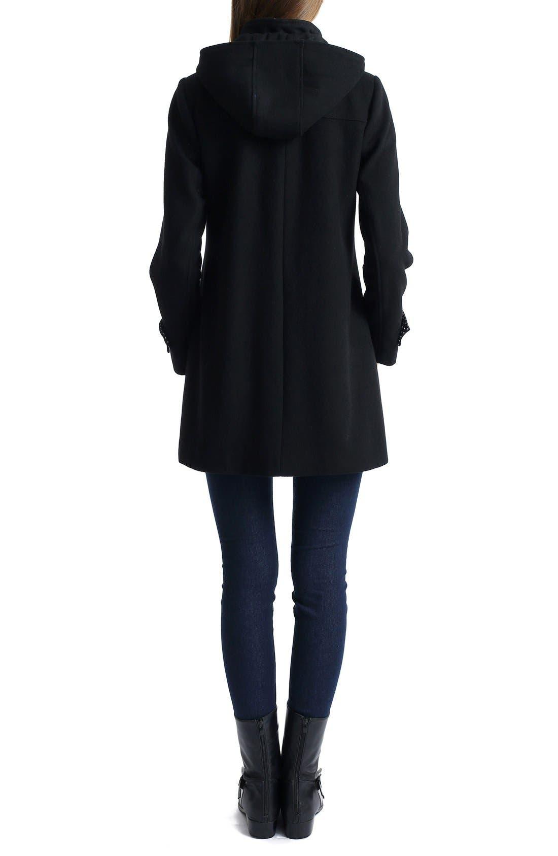 'Paisley' Maternity Duffle Coat,                             Alternate thumbnail 2, color,                             BLACK