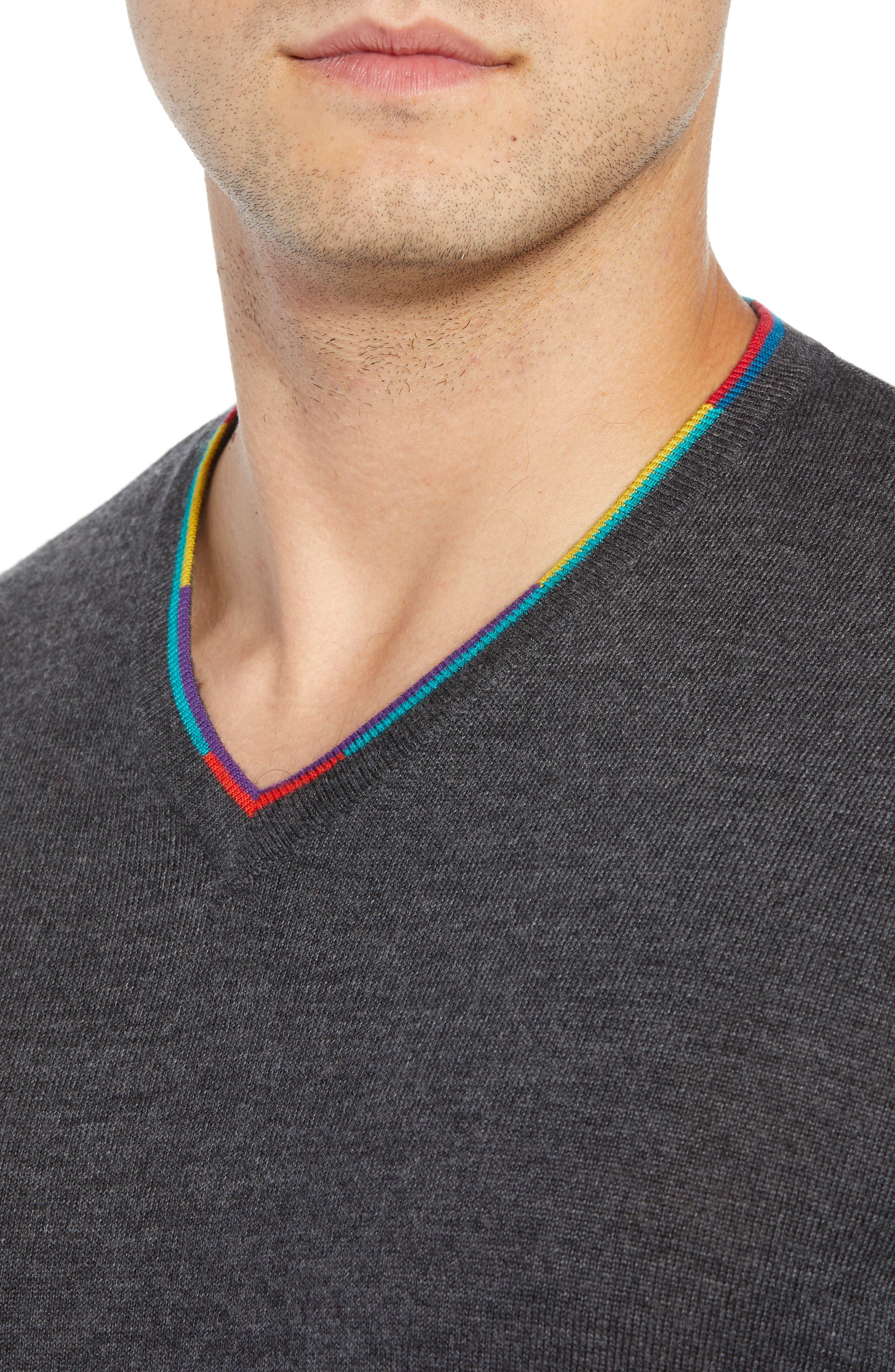 V-Neck Merino Wool Sweater,                             Alternate thumbnail 4, color,                             CHARCOAL