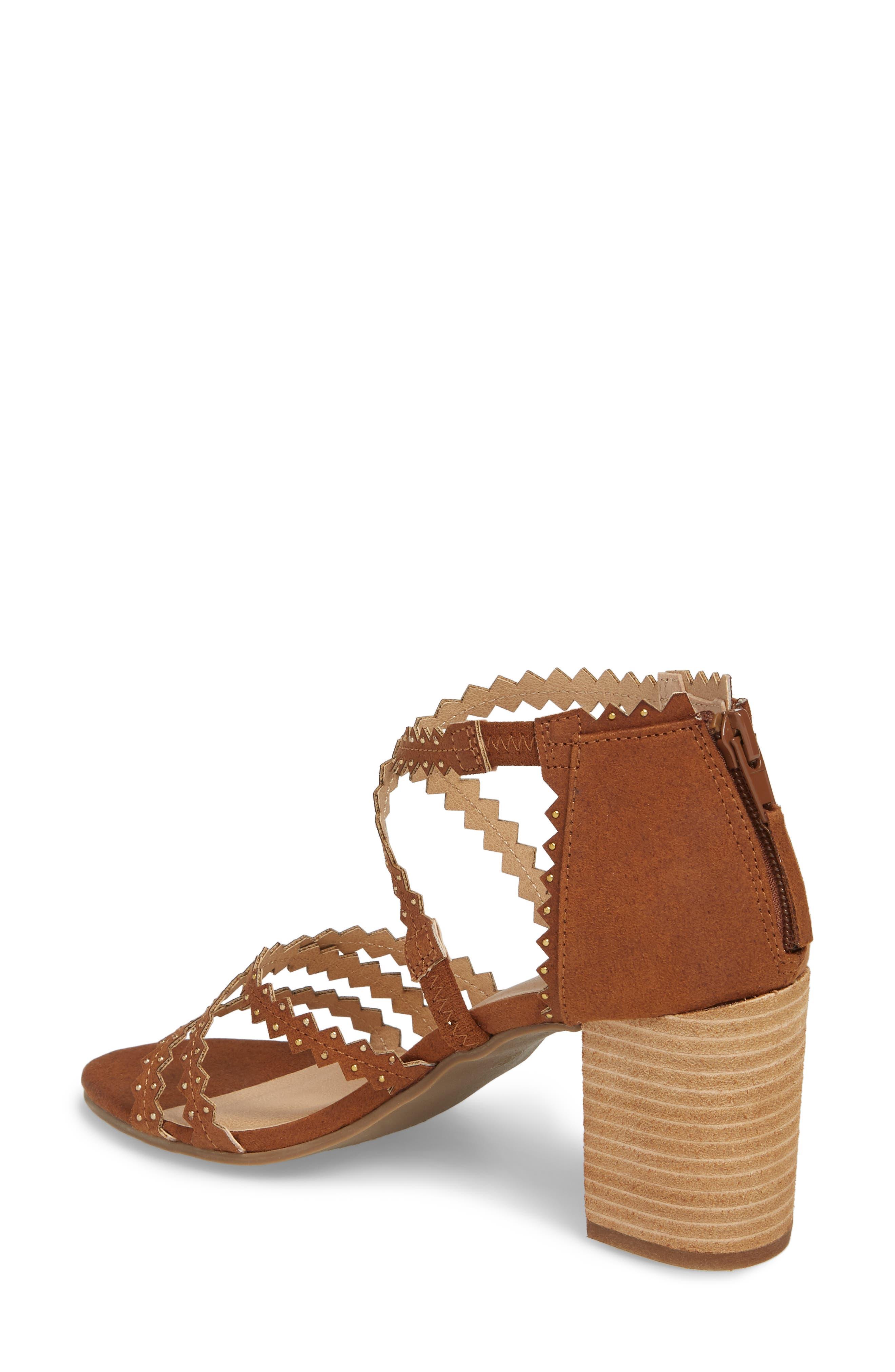 Aiden Block Heel Sandal,                             Alternate thumbnail 2, color,                             SADDLE SUEDE