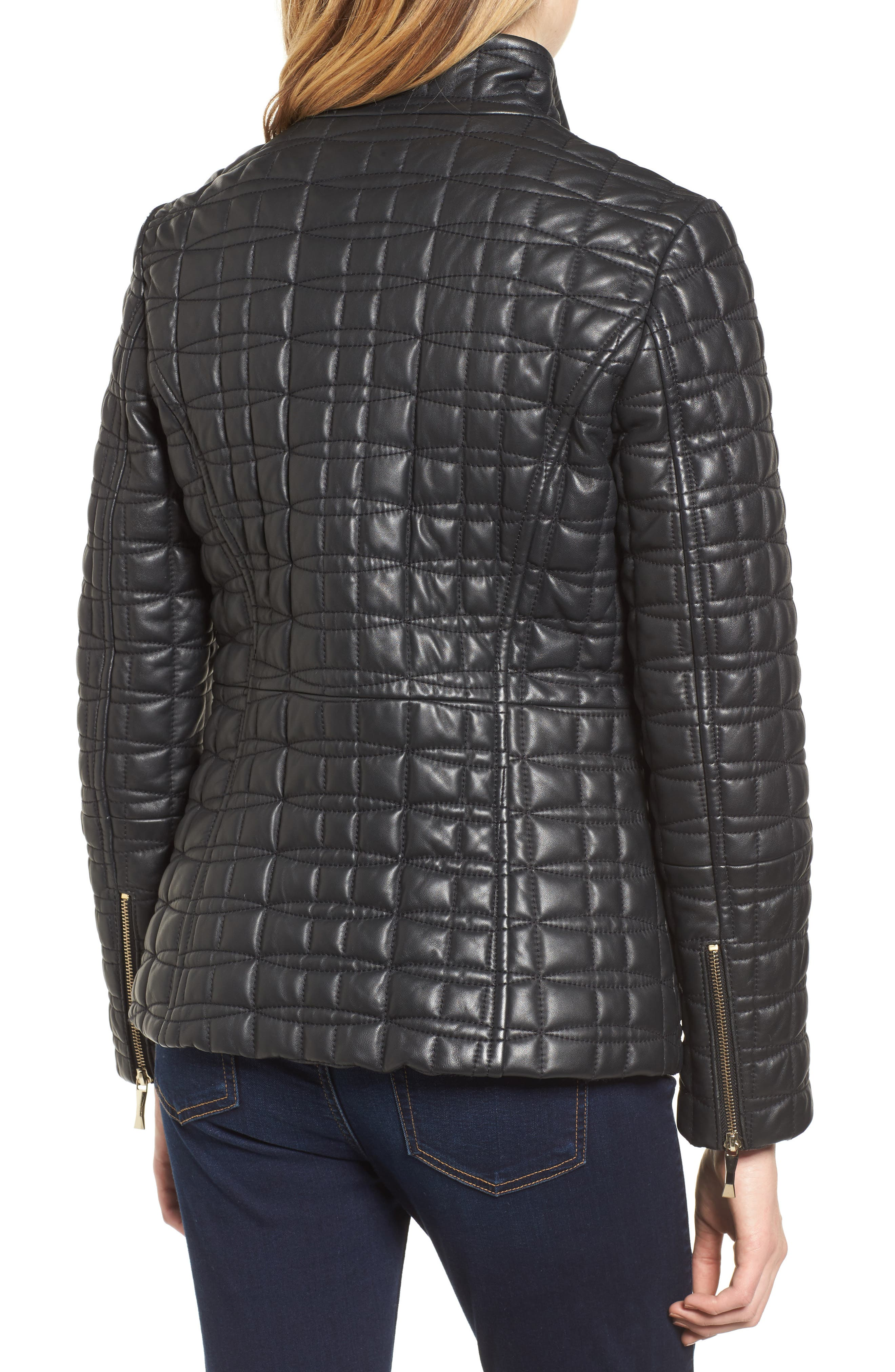quilted leather jacket,                             Alternate thumbnail 2, color,                             BLACK