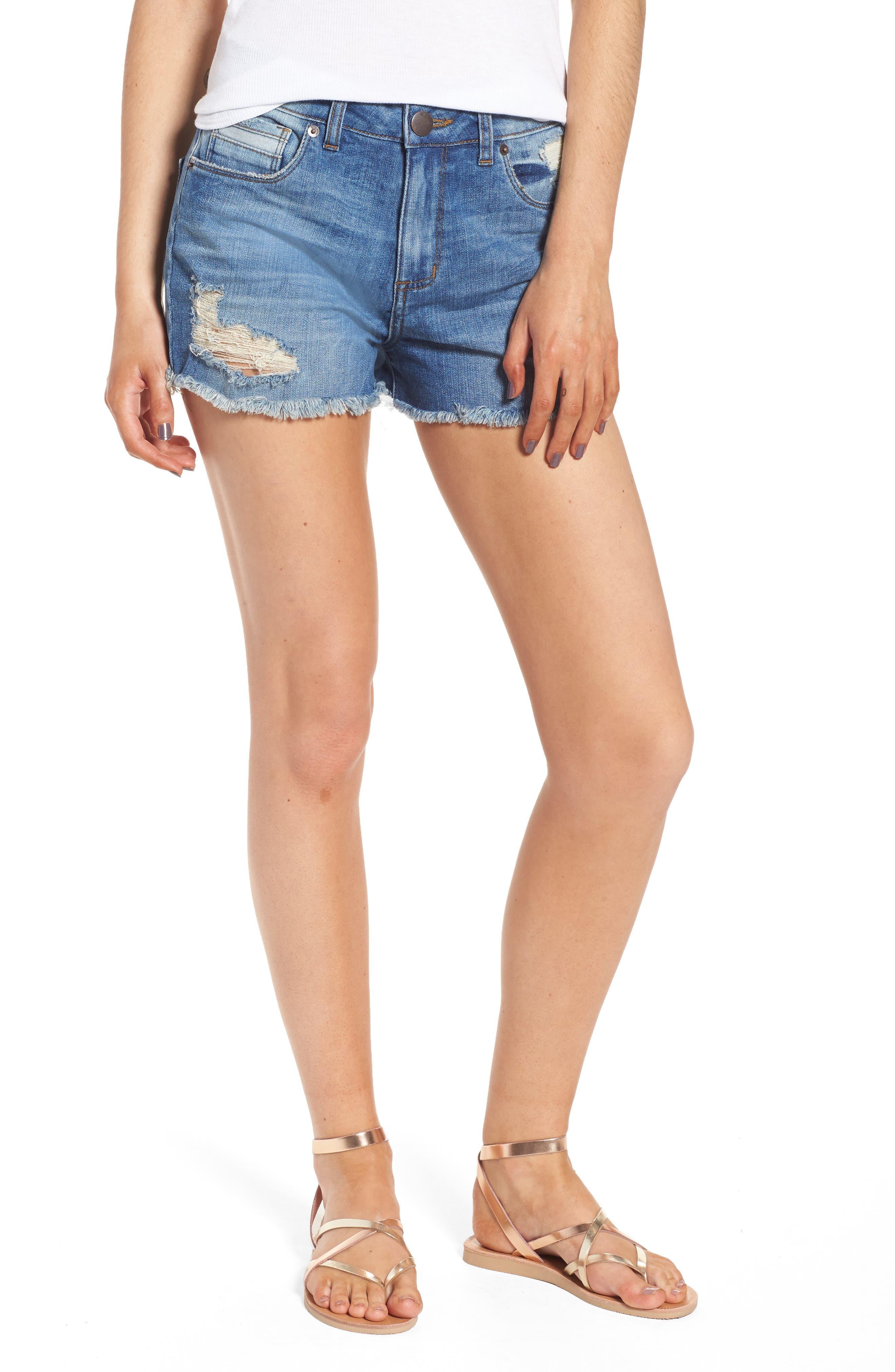 Rosebowl Shadow Pocket Denim Shorts,                         Main,                         color, 403