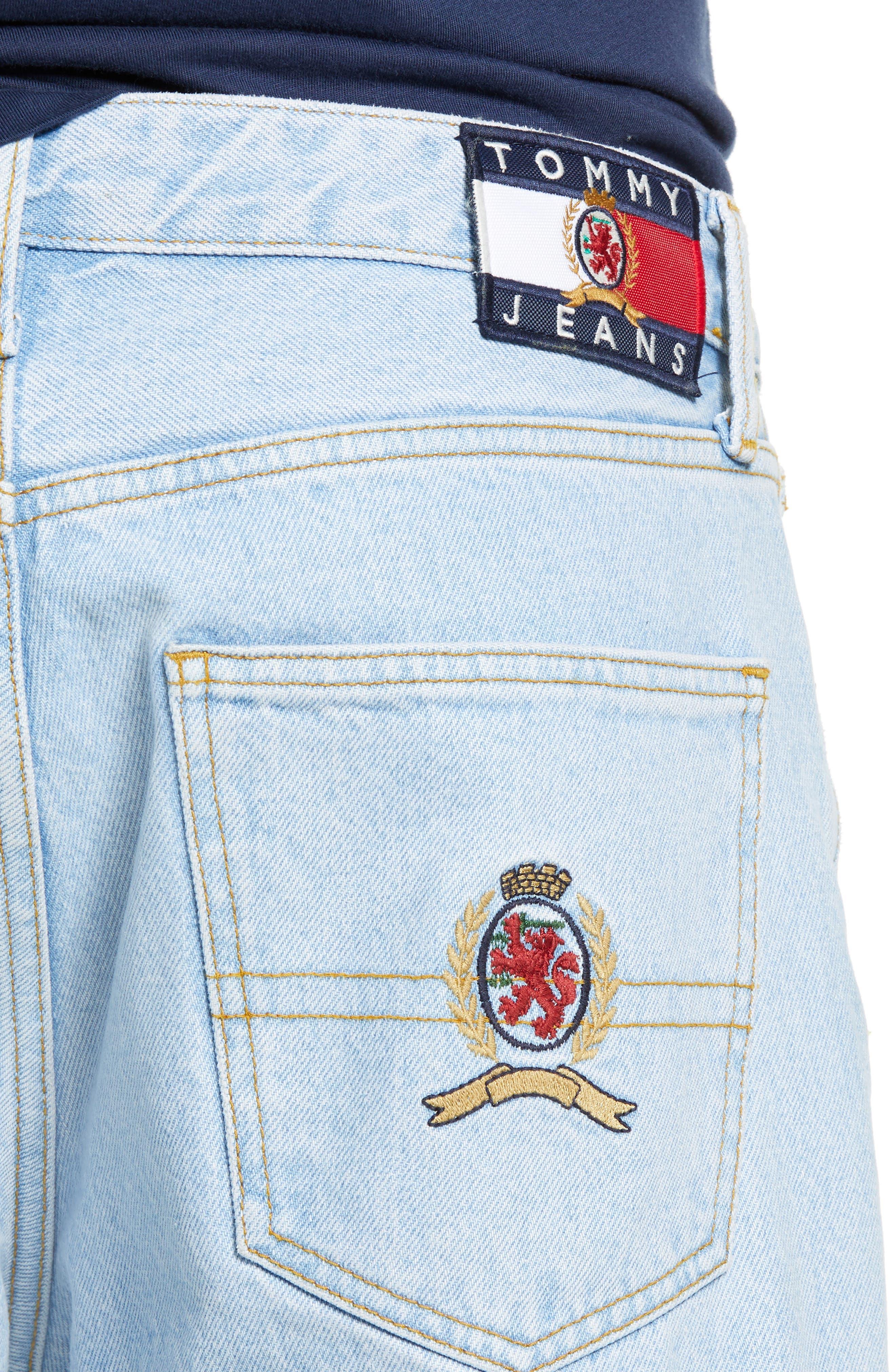 Crest Straight Leg Dad Jeans,                             Alternate thumbnail 4, color,                             LIGHT BLUE DENIM
