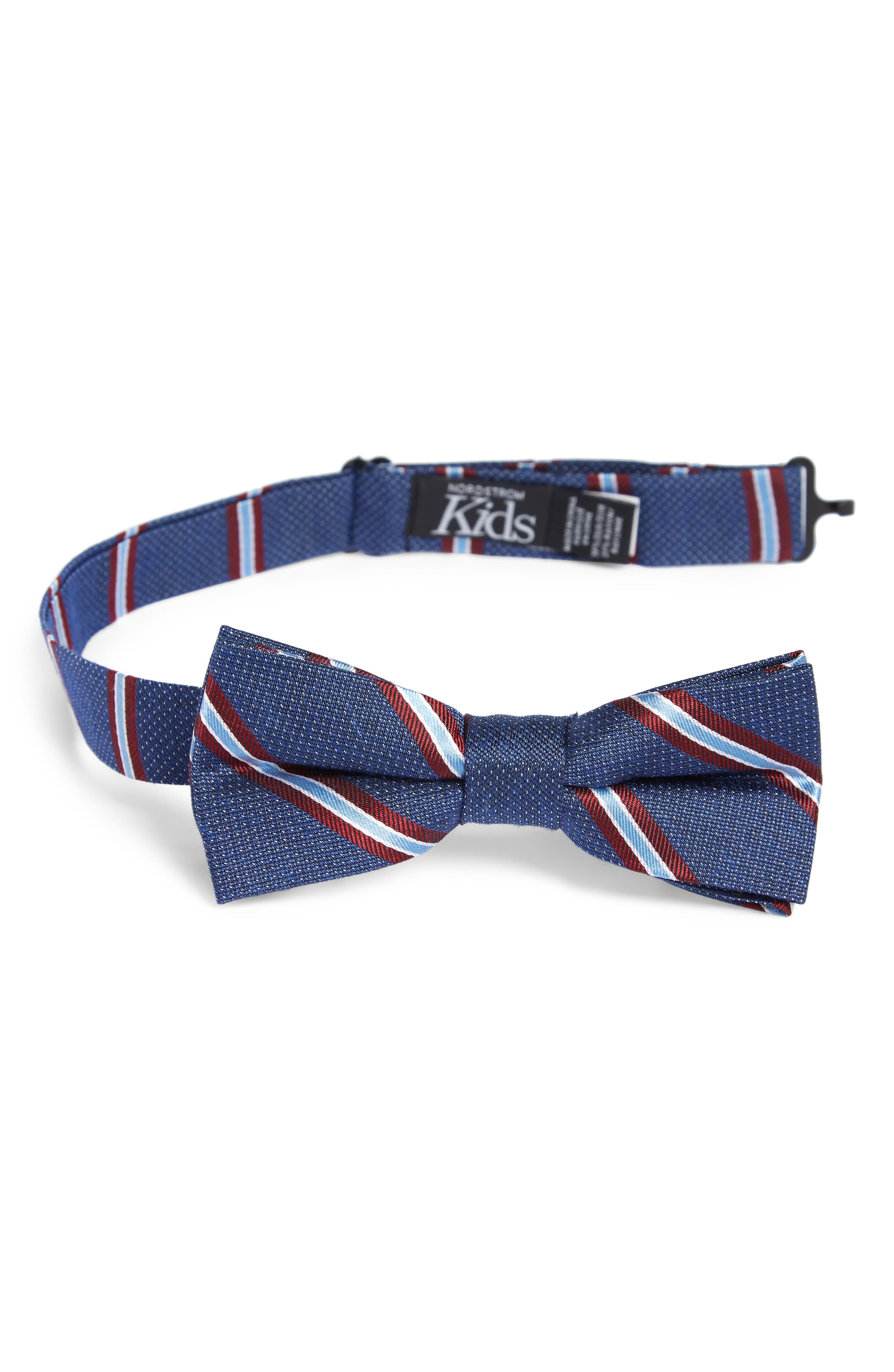 Stripe Silk Blend Bow Tie,                             Main thumbnail 1, color,                             BLUE
