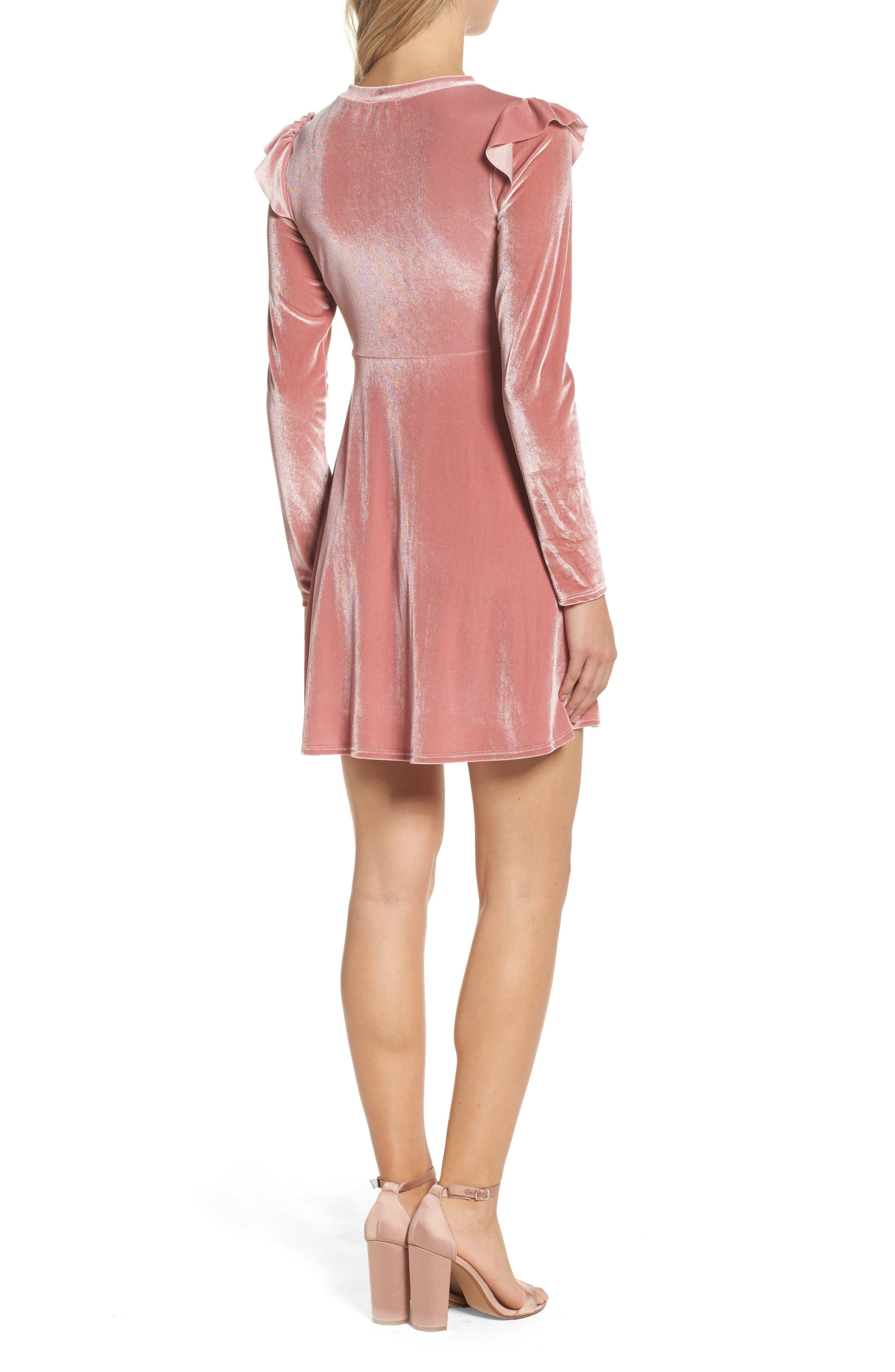 Velvet Fit & Flare Dress,                             Alternate thumbnail 4, color,