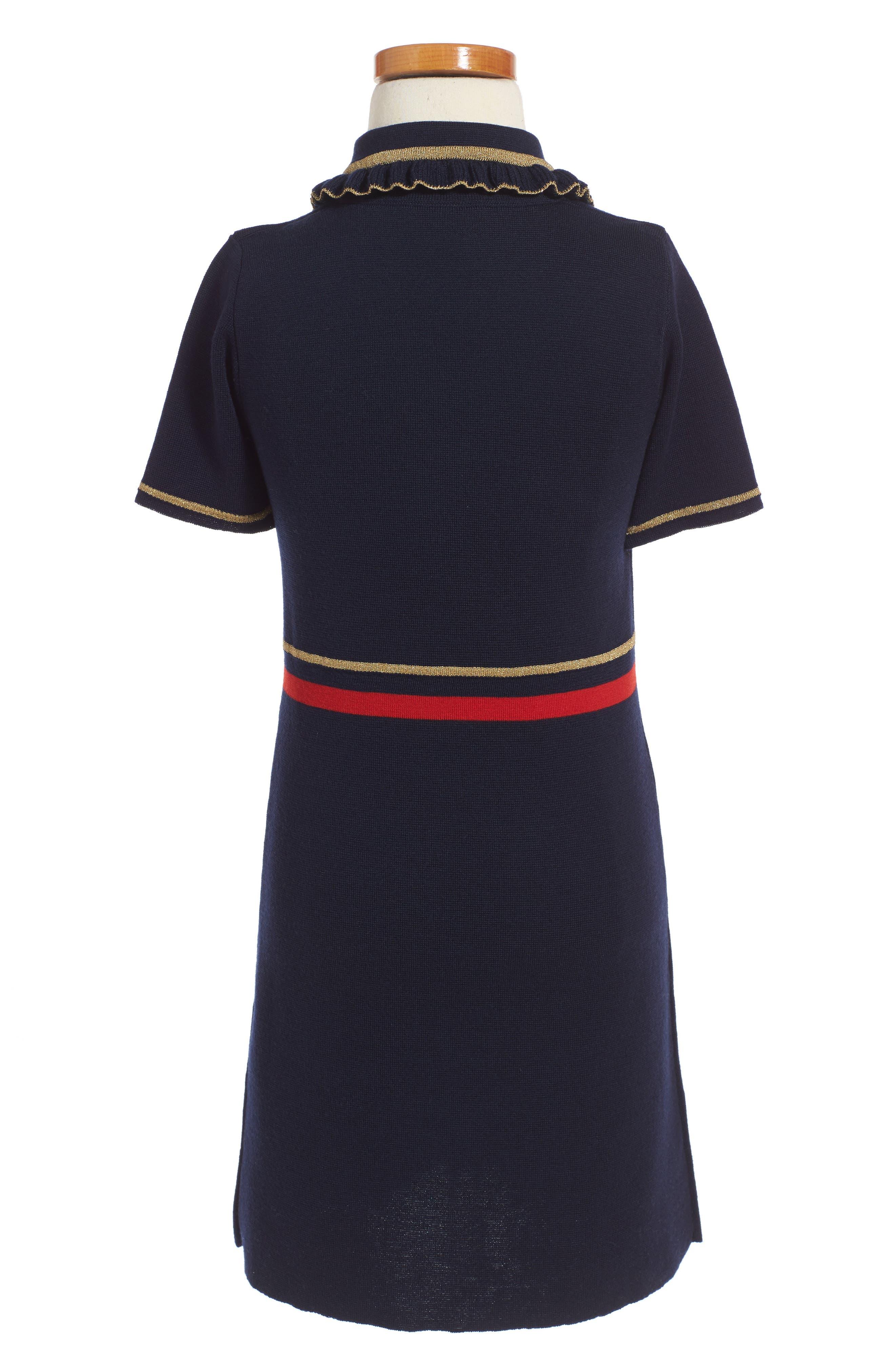Wool Polo Dress,                             Alternate thumbnail 3, color,                             BLUE MULTI