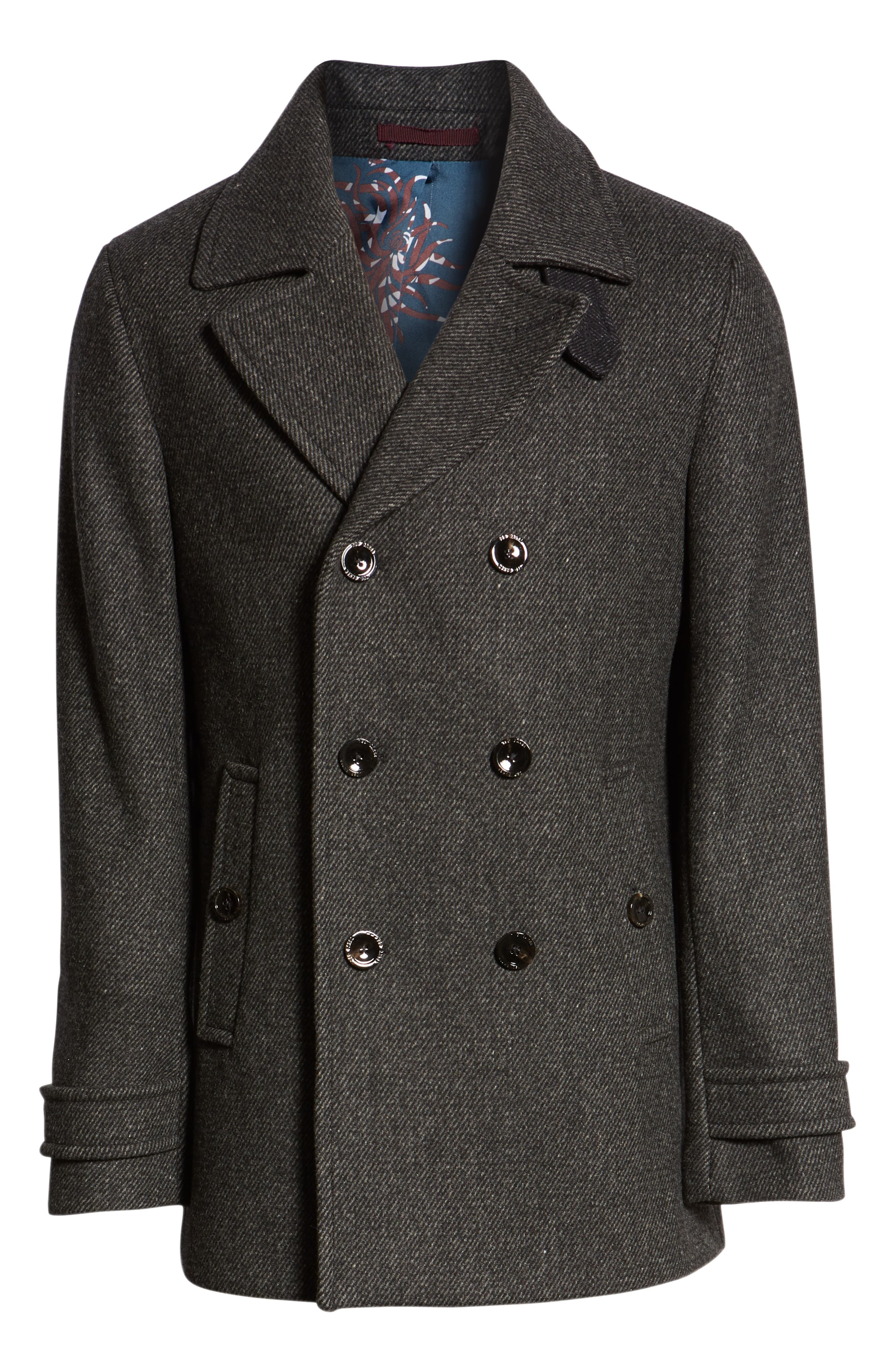 Grilled Wool Blend Peacoat,                             Alternate thumbnail 6, color,                             GREY