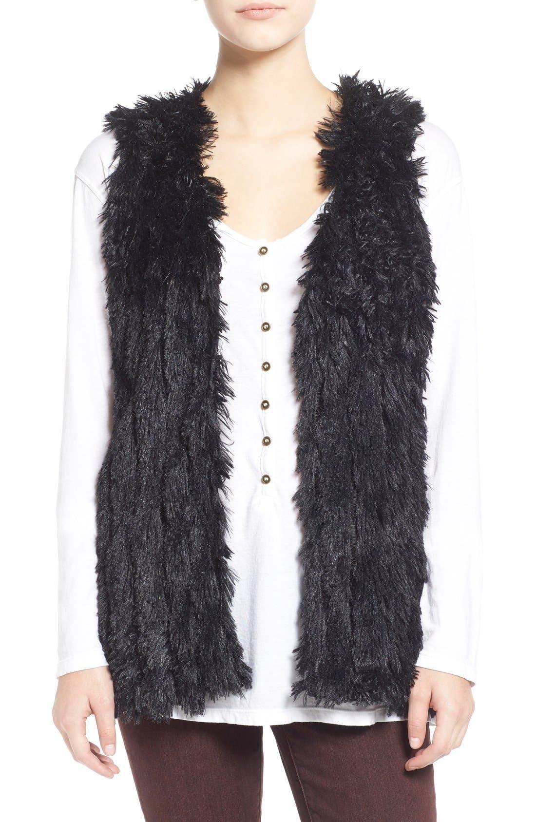 Faux Fur Vest,                             Main thumbnail 1, color,                             001