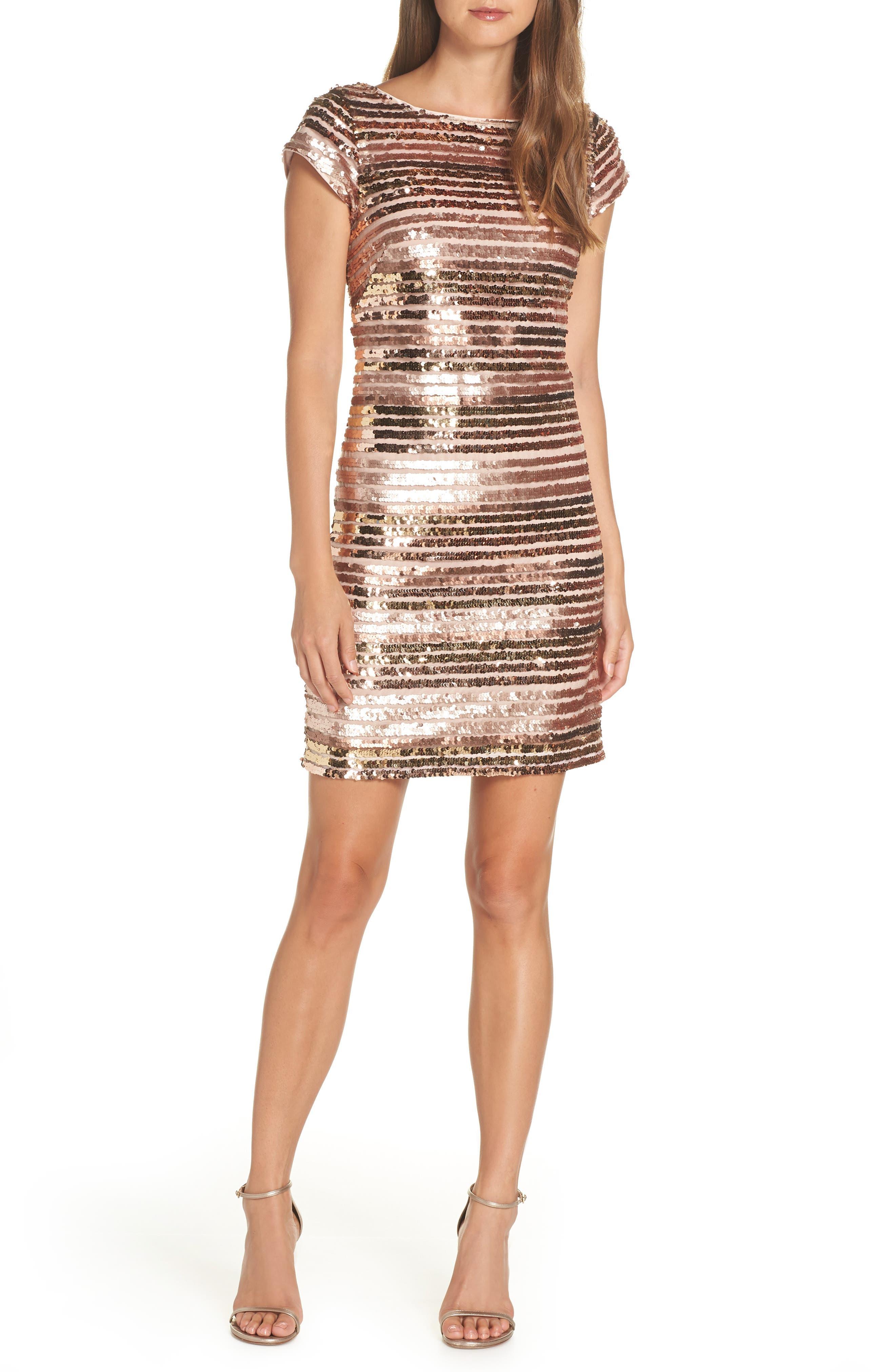 Eliza J Cap Sleeve Sequin Stripe Dress, Beige