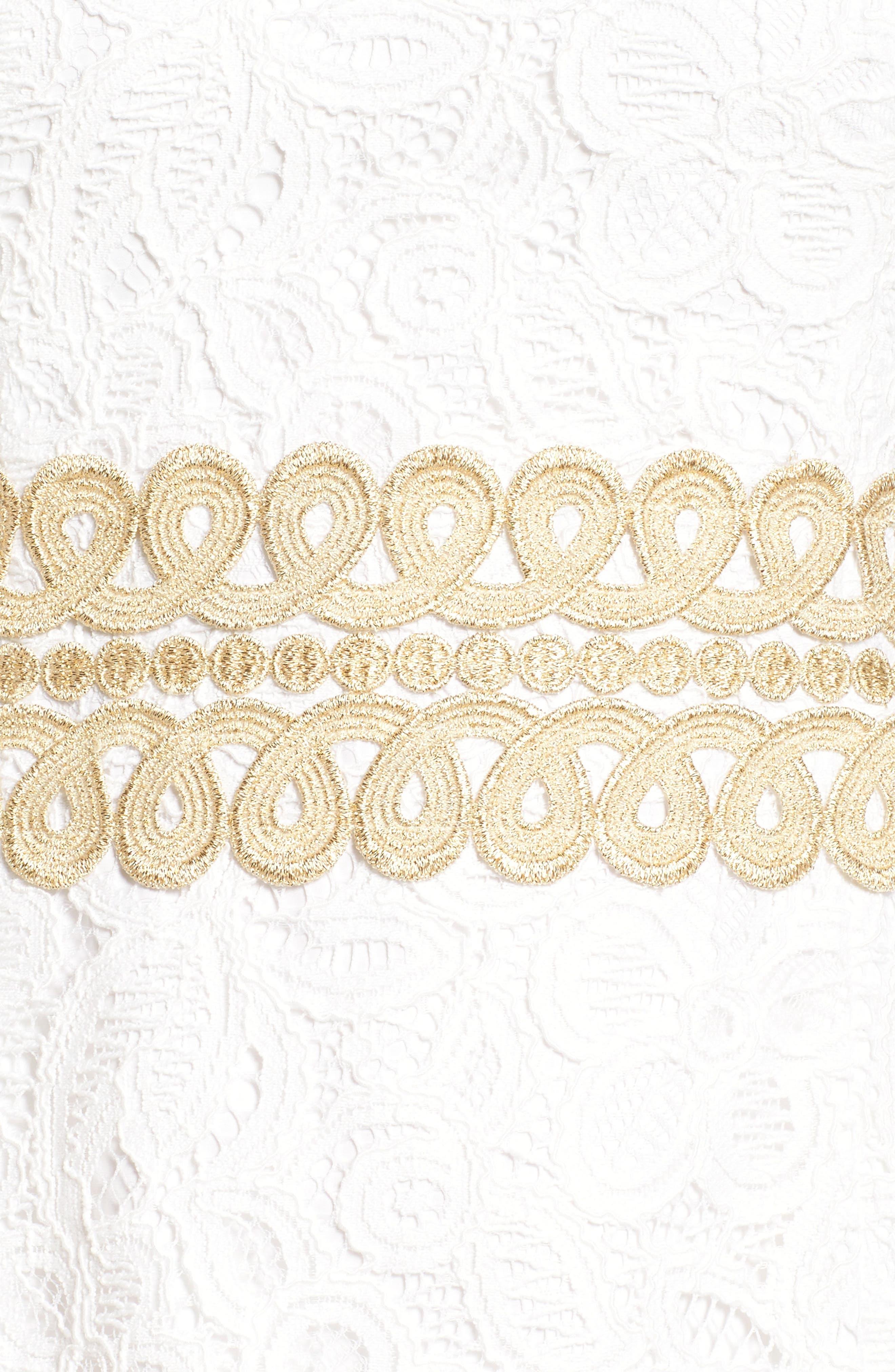 Ashlyn Lace Dress,                             Alternate thumbnail 6, color,                             RESORT WHITE POP FLORAL LACE