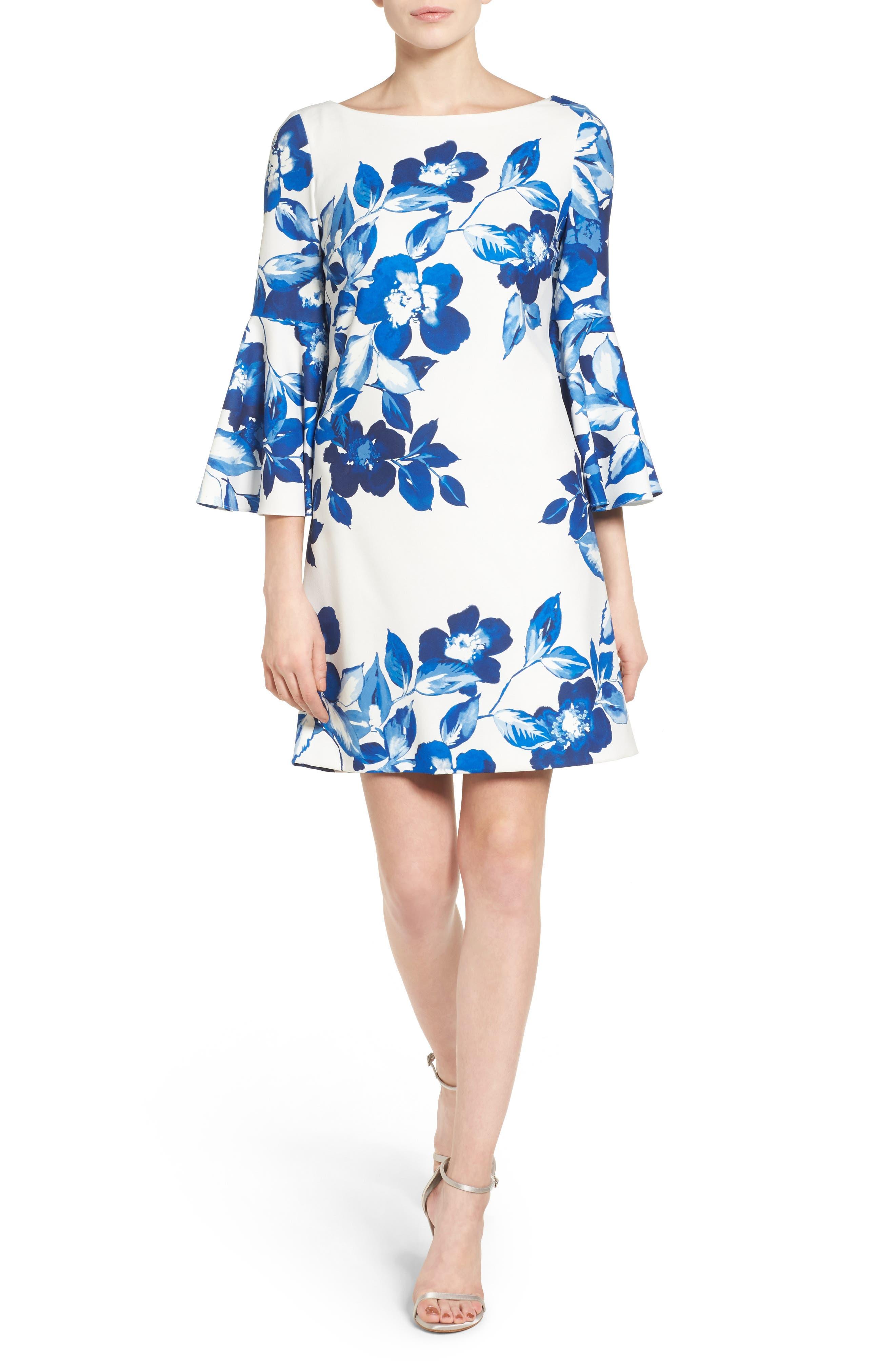 Floral Shift Dress,                             Main thumbnail 1, color,                             BLUE/ IVORY