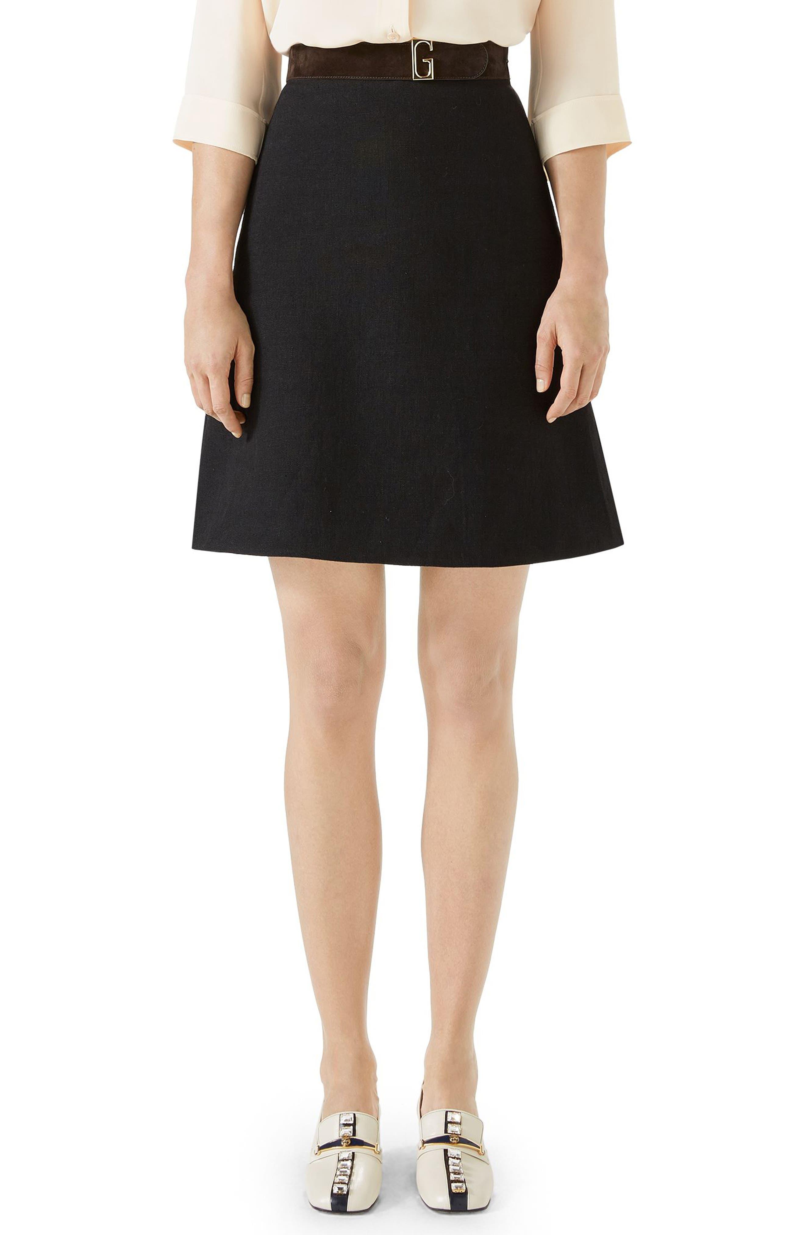 Linen Skirt with Suede Belt,                         Main,                         color, BLACK