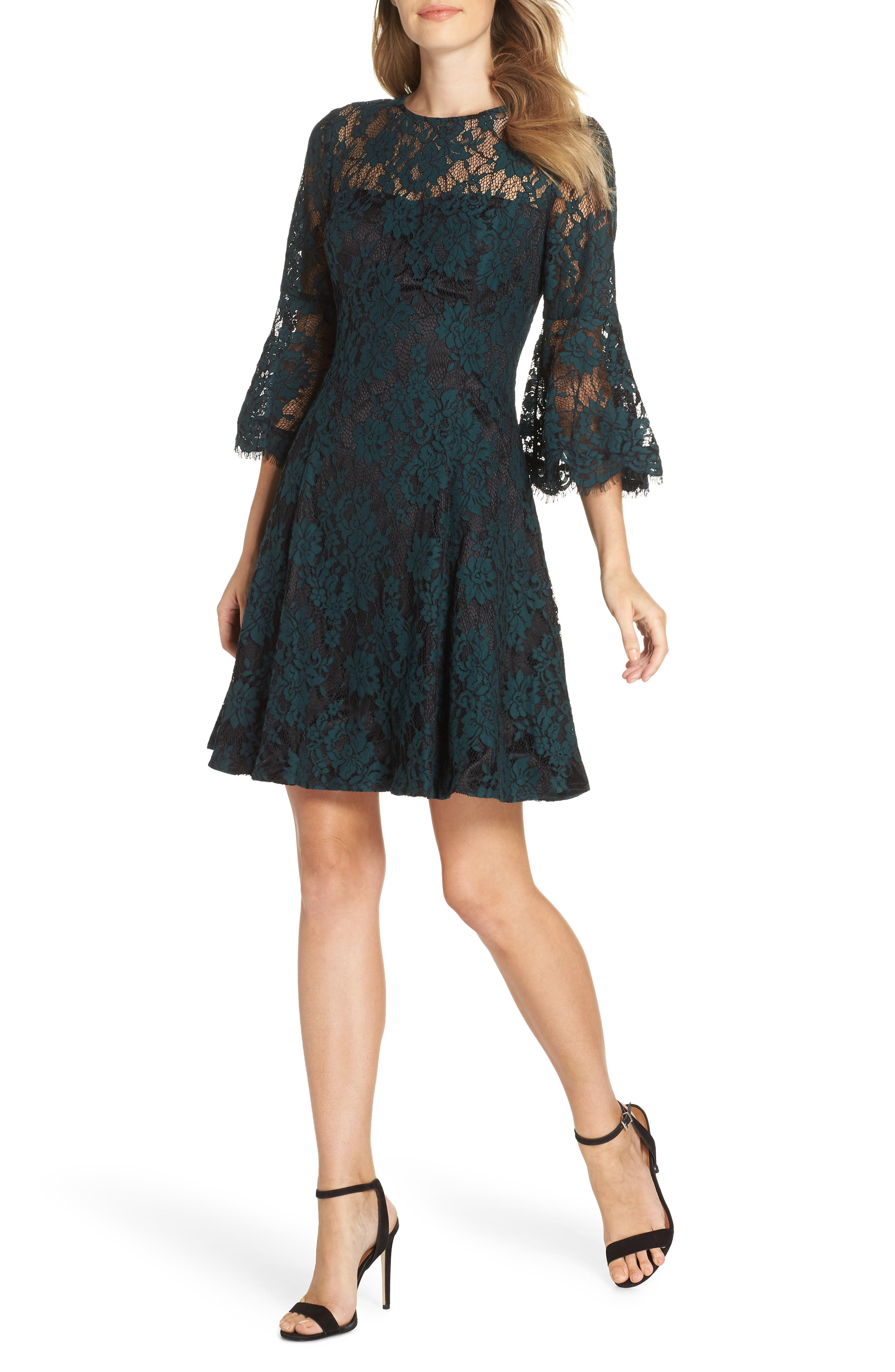 1960s Dresses | 60s Dresses Mod, Mini, Jackie O, Hippie Womens Eliza J Bell Sleeve Lace Dress $151.31 AT vintagedancer.com
