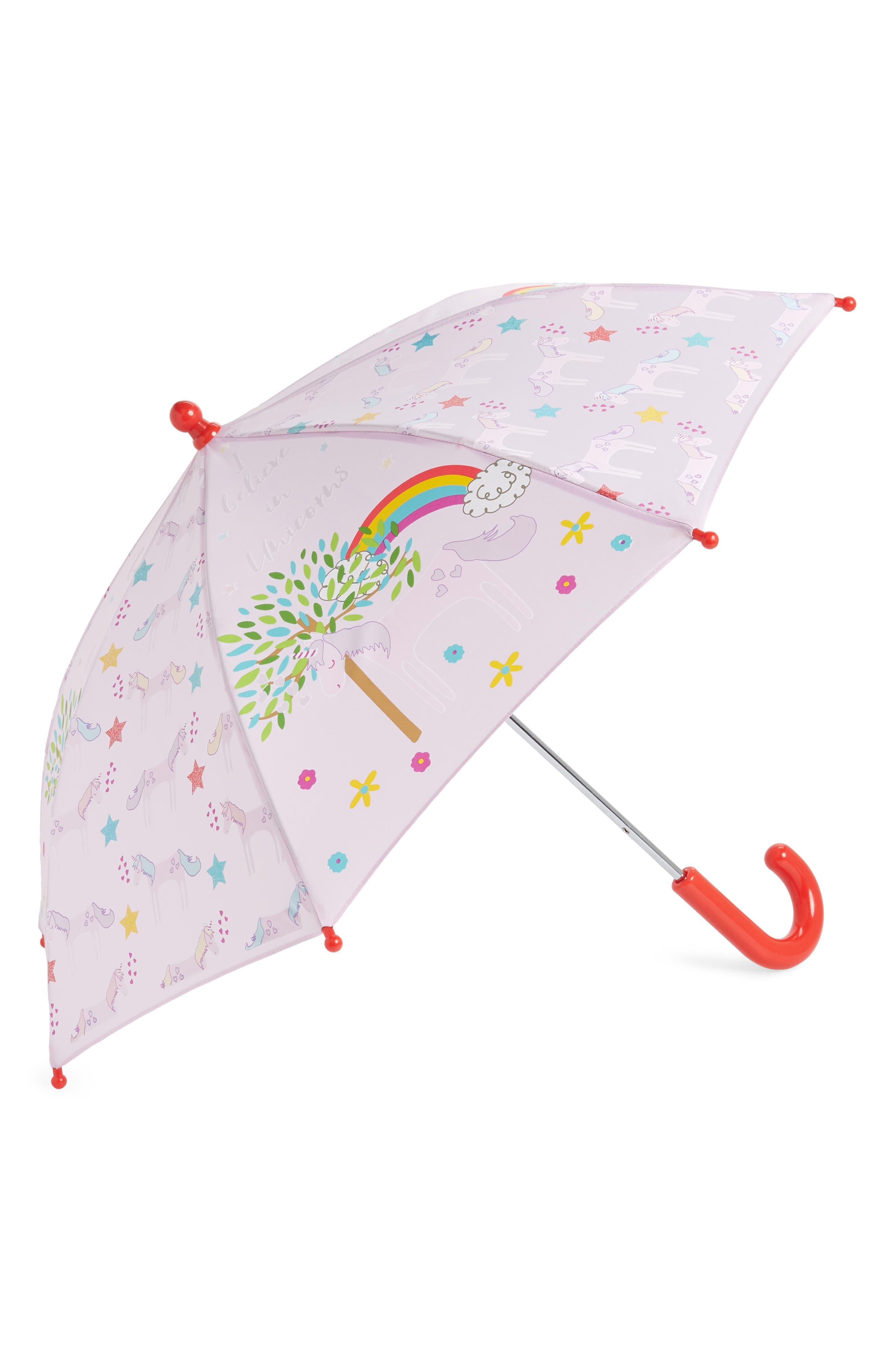 Floss & Rock Unicorn Color Changing Umbrella,                             Main thumbnail 1, color,                             LIGHT PINK