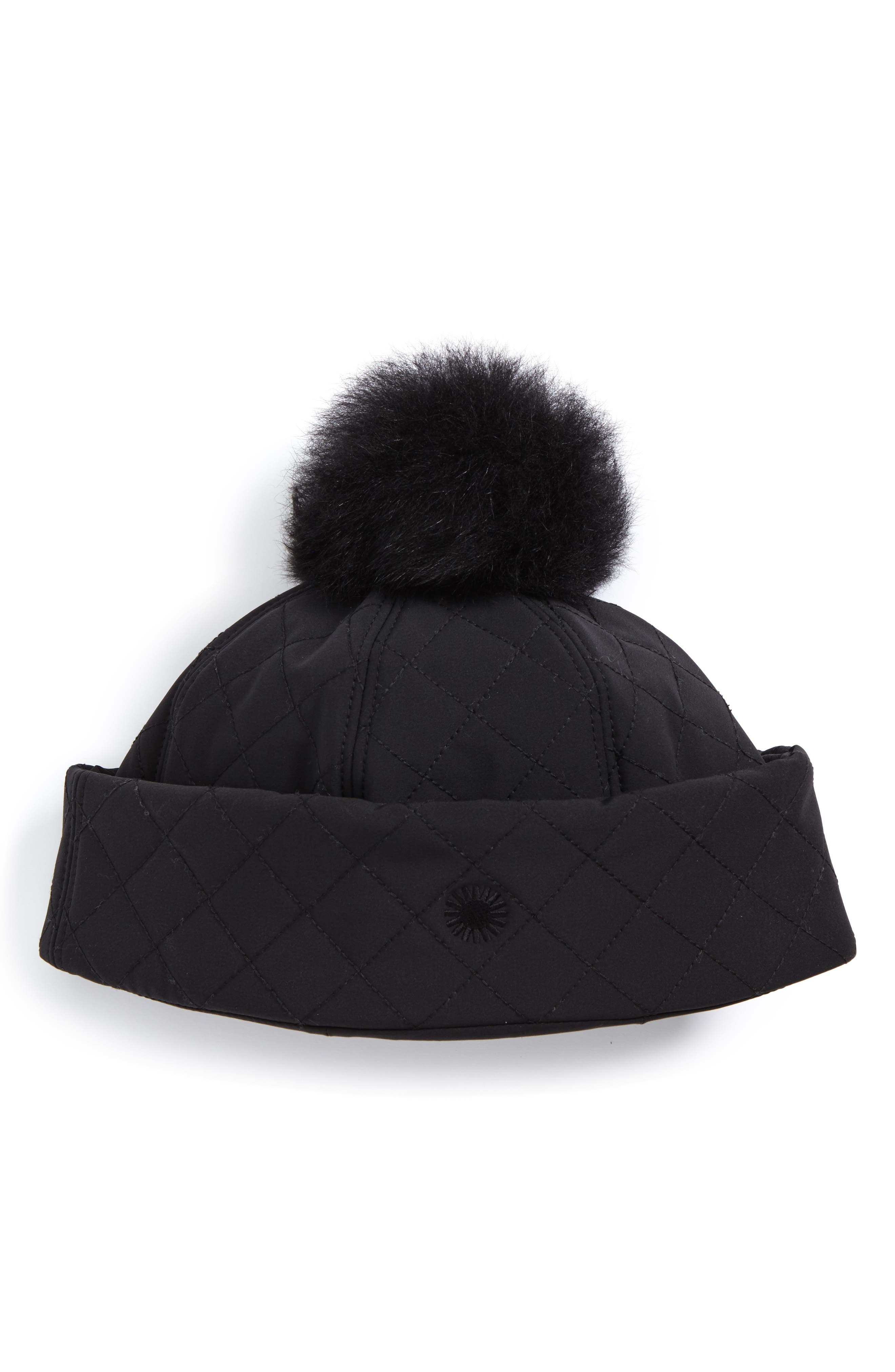 Australia Water Resistant Quilted Hat with Genuine Shearling Pompom,                         Main,                         color, BLACK
