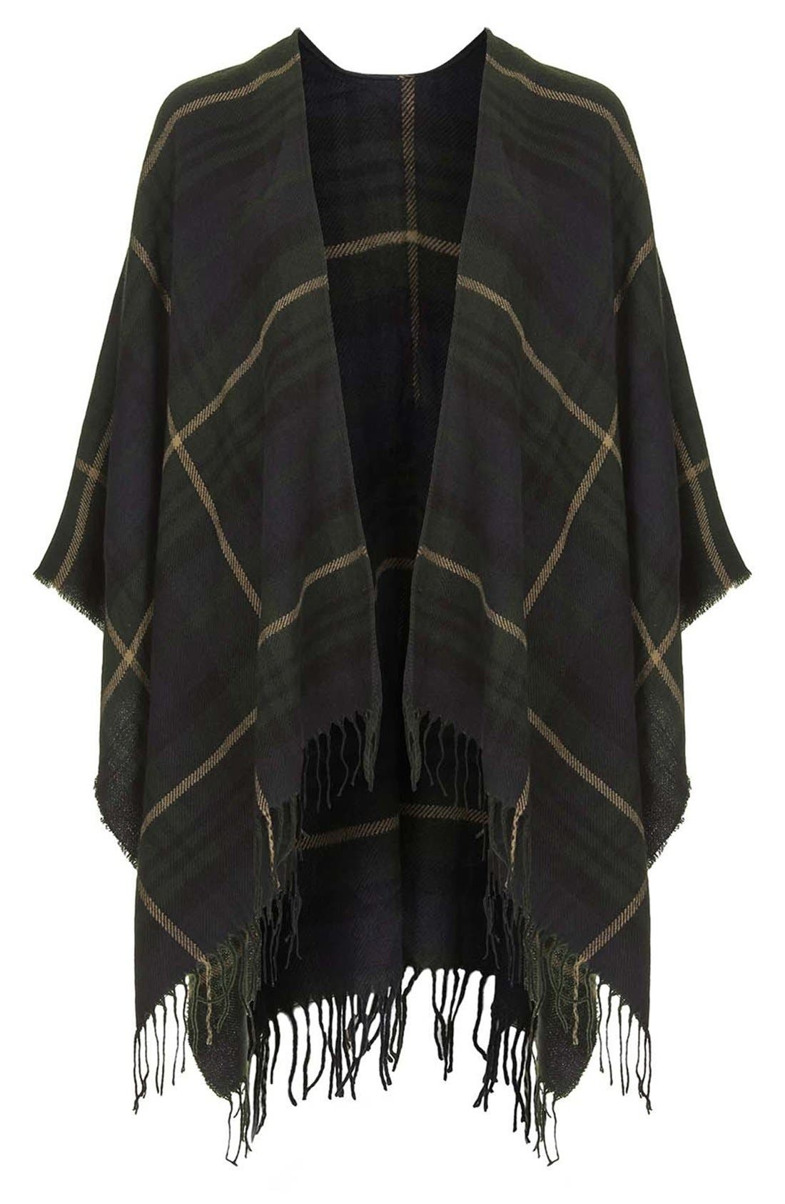 TOPSHOP,                             Checked Cape,                             Alternate thumbnail 5, color,                             400