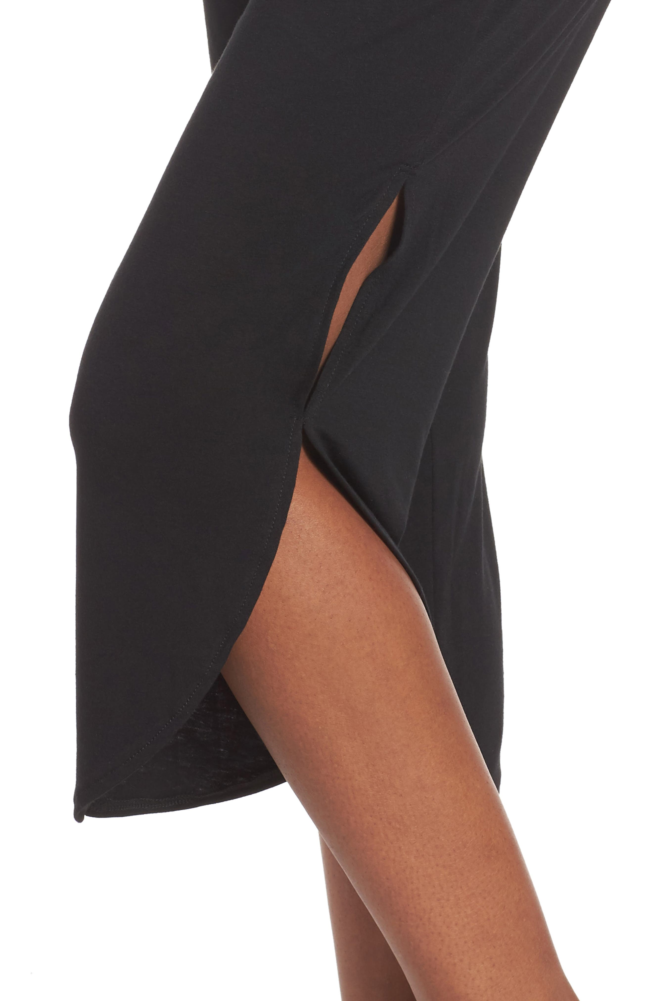 Foldover Waist Tulip Pants,                             Alternate thumbnail 4, color,                             BLACK