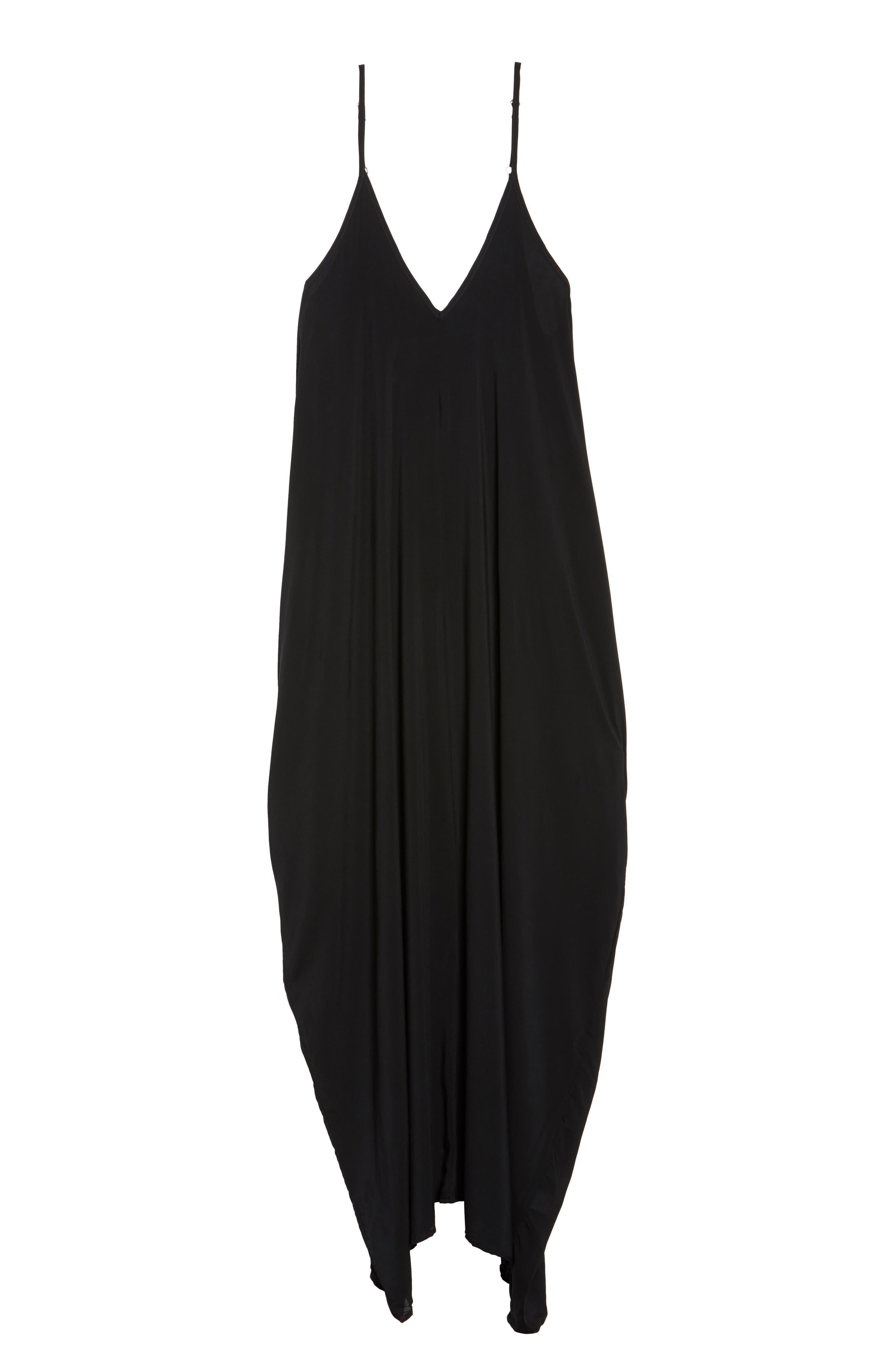Cover-Up Maxi Dress,                             Alternate thumbnail 5, color,                             BLACK