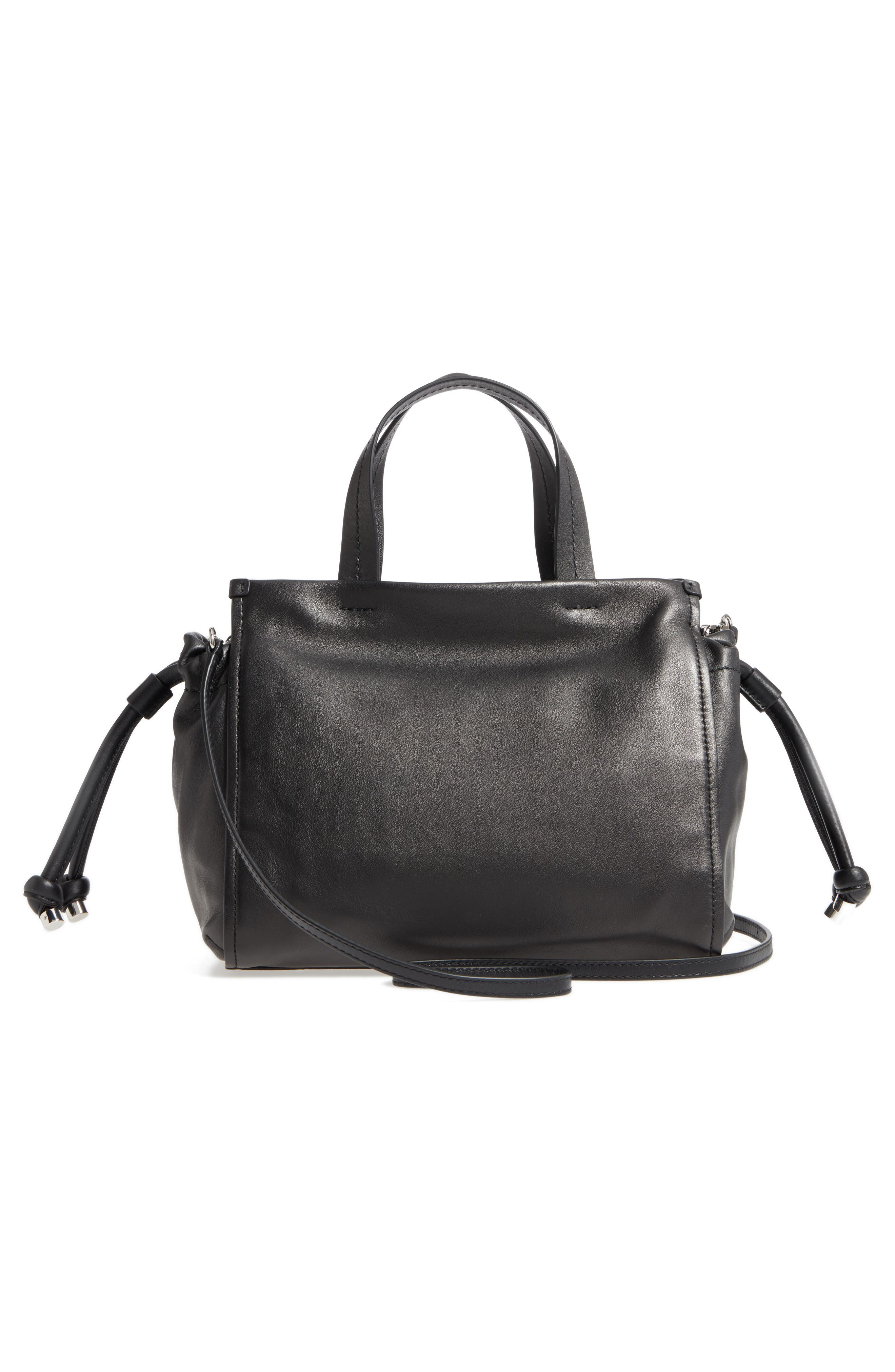 Tied Up Leather Shoulder/Crossbody Tote,                             Alternate thumbnail 3, color,                             001