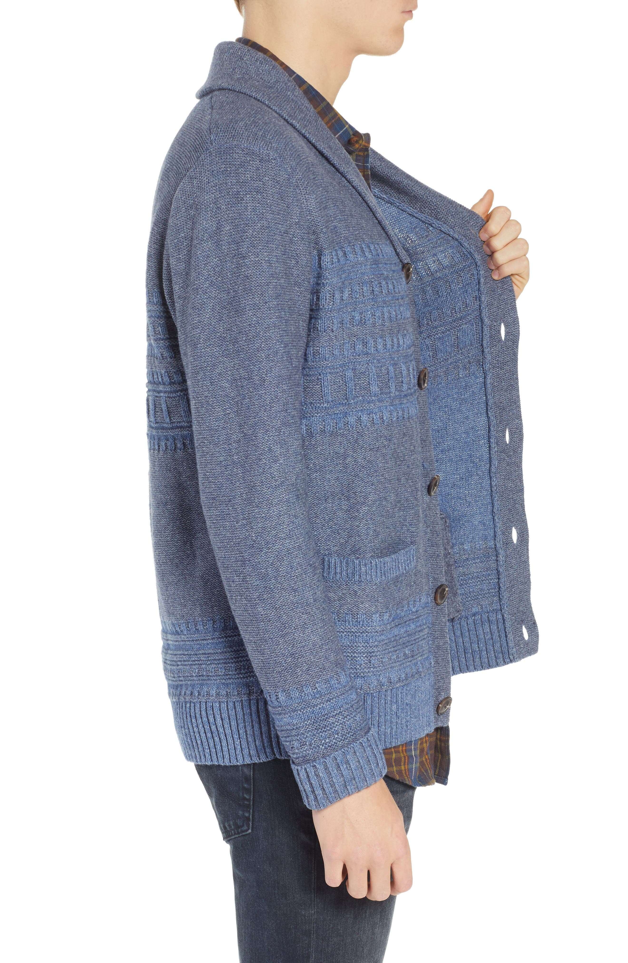 Bison Shawl Collar Sweater,                             Alternate thumbnail 3, color,                             BLUE