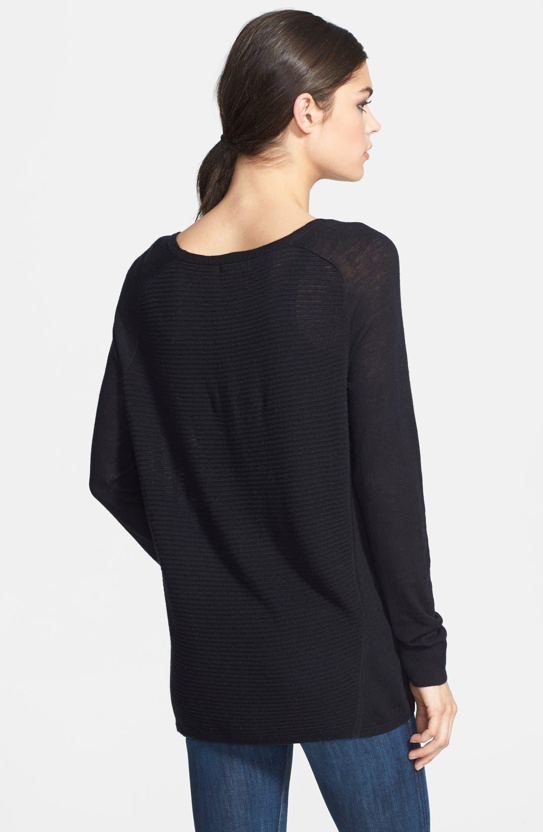 Textured Stripe Lightweight Crewneck Sweater,                             Alternate thumbnail 3, color,                             001