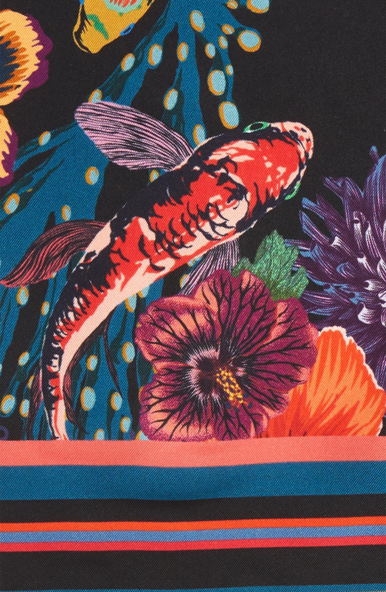 Hawaiian Print Silk Pocket Square,                             Alternate thumbnail 3, color,                             001