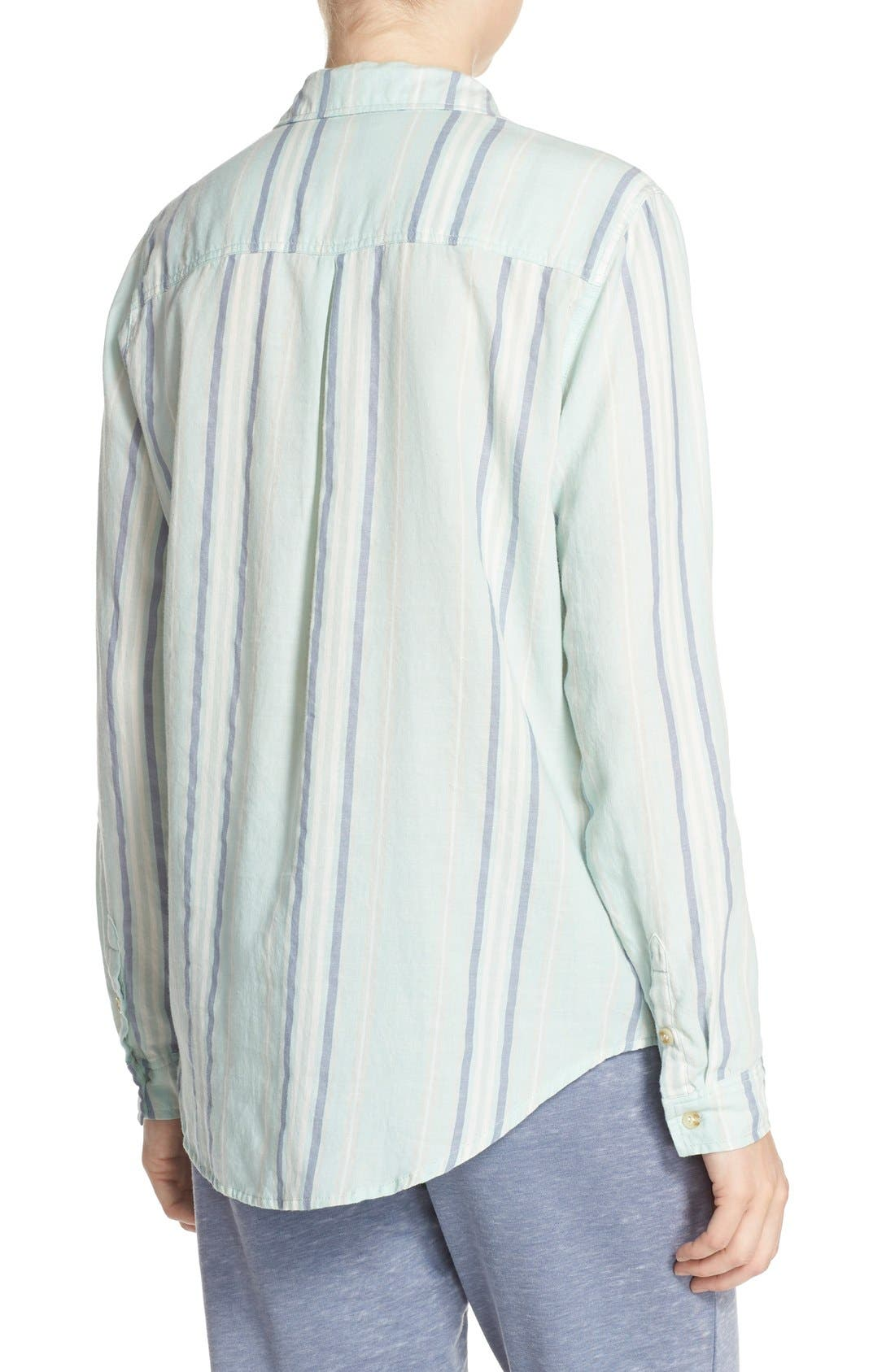 Stripe Cotton Twill Top,                             Alternate thumbnail 3, color,                             335