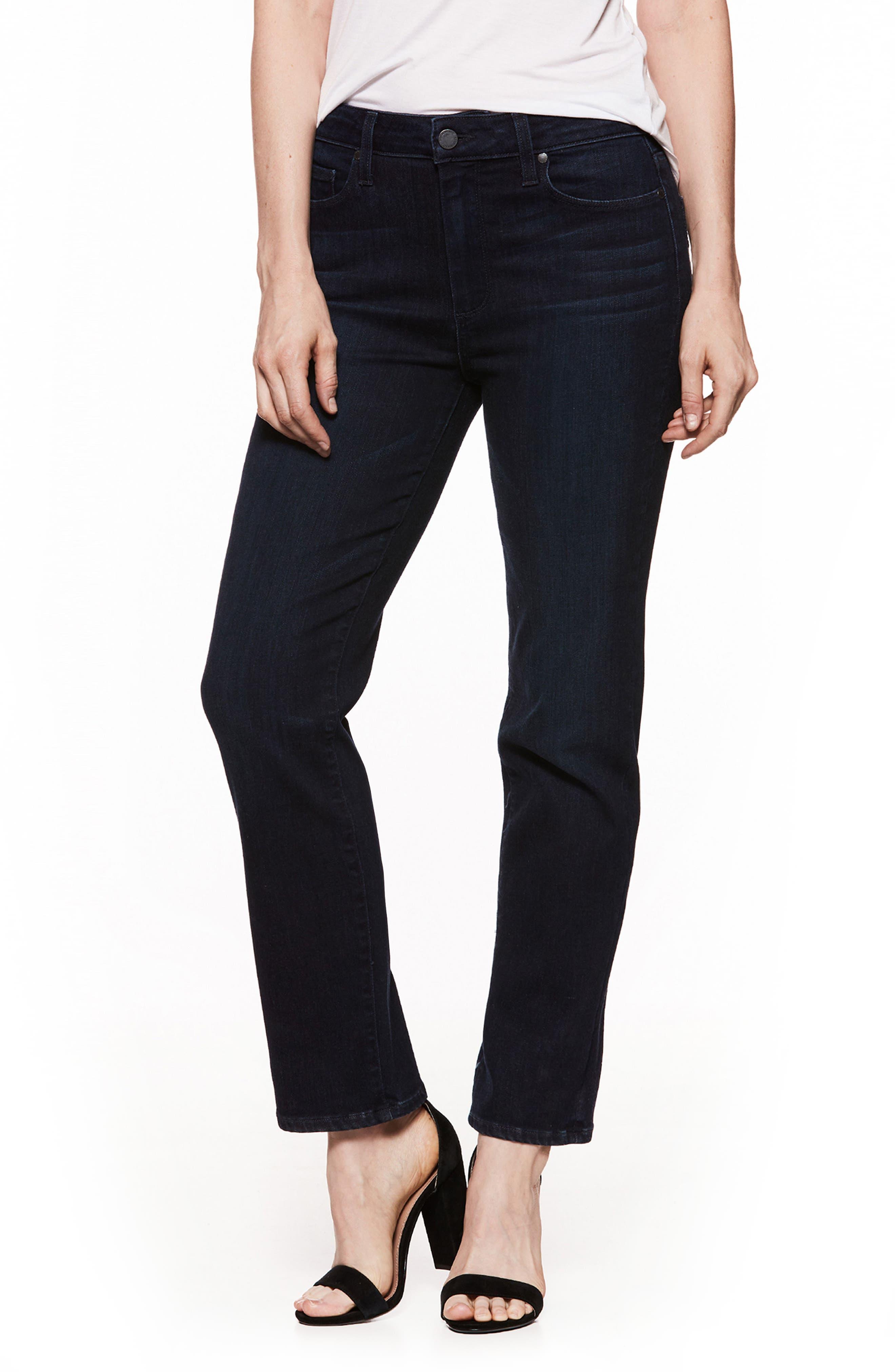 Jacqueline High Waist Crop Straight Leg Jeans,                             Main thumbnail 1, color,