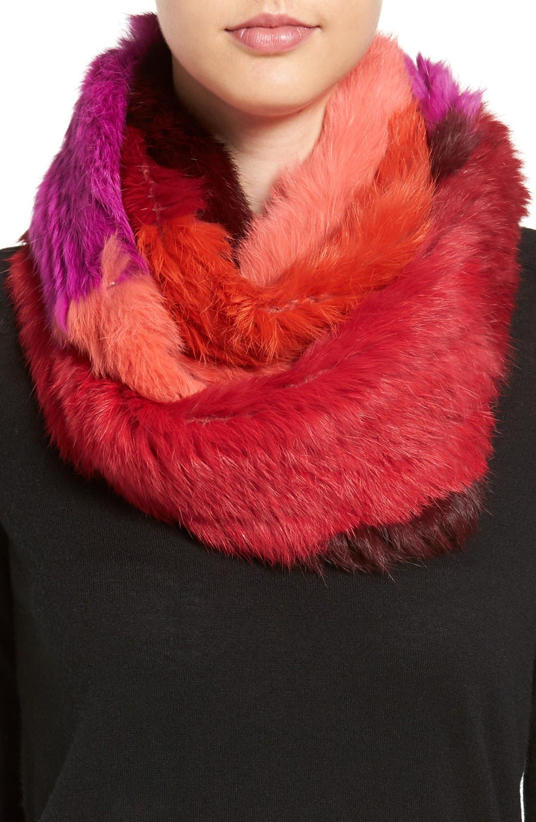 Colorblock Genuine Rabbit Fur Infinity Scarf, Main, color, 650
