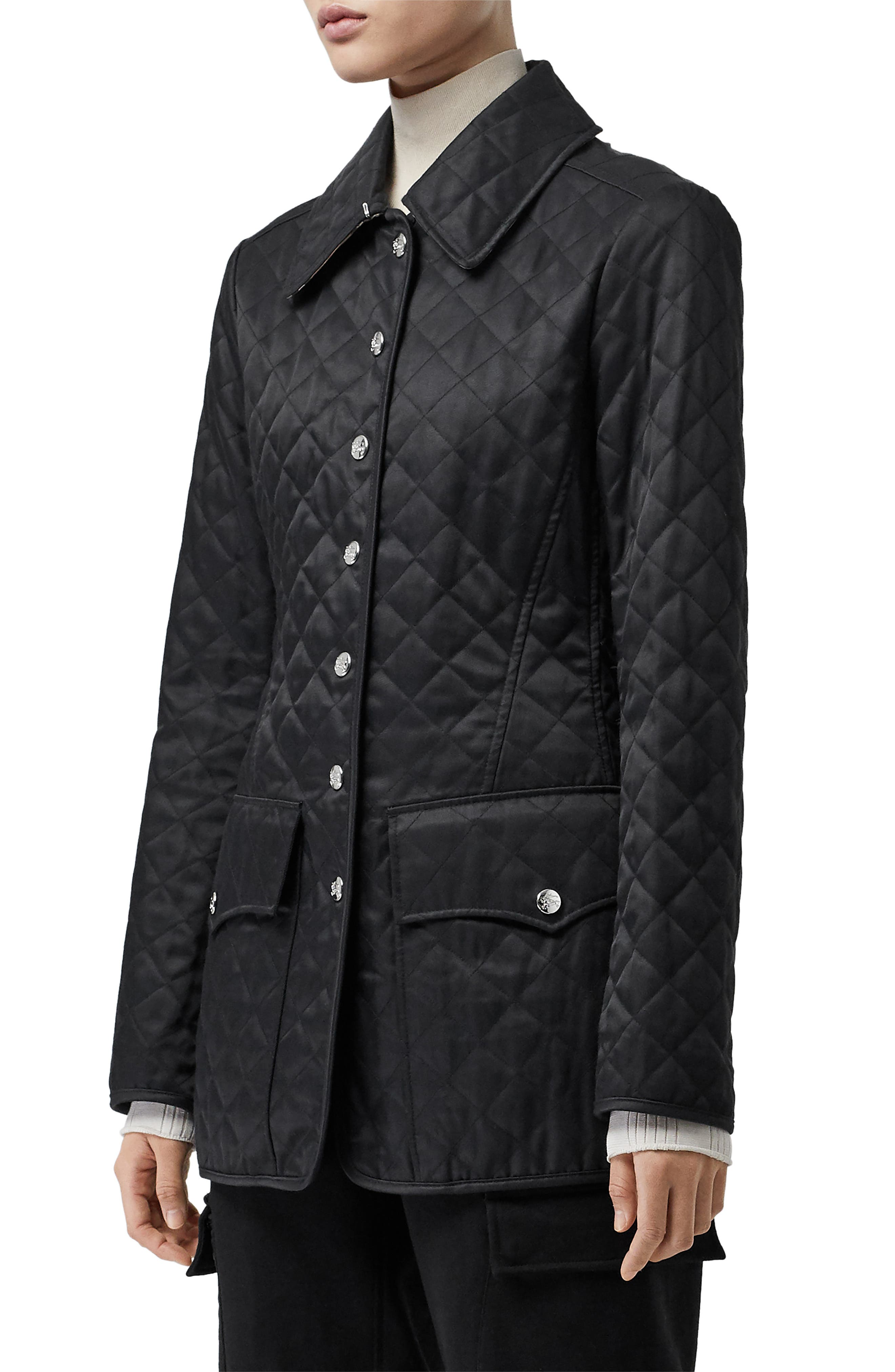 BURBERRY,                             Borthwicke Quilted Jacket,                             Alternate thumbnail 3, color,                             BLACK