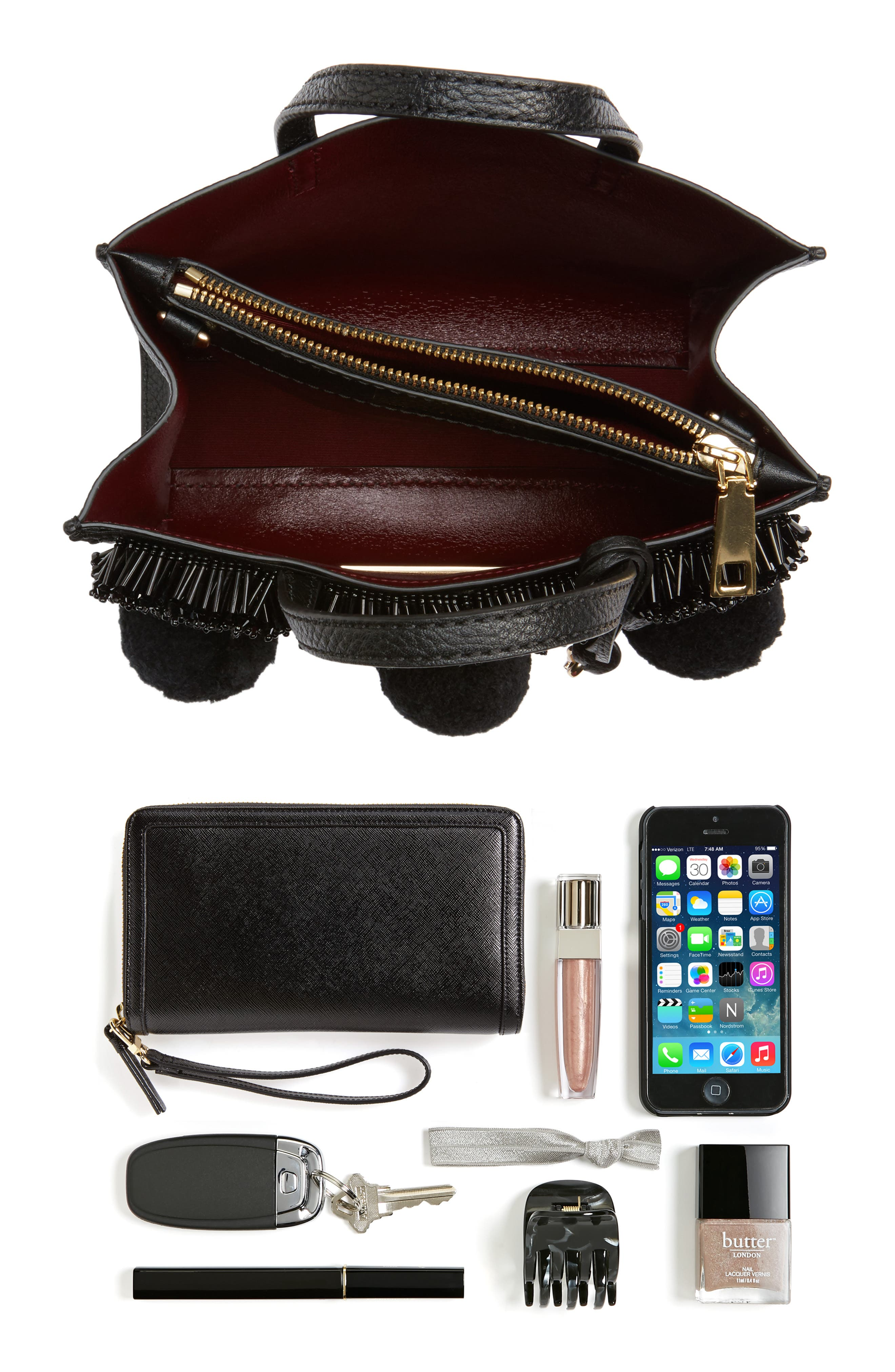 The Grind Mini Pompom Leather Tote,                             Alternate thumbnail 7, color,                             001