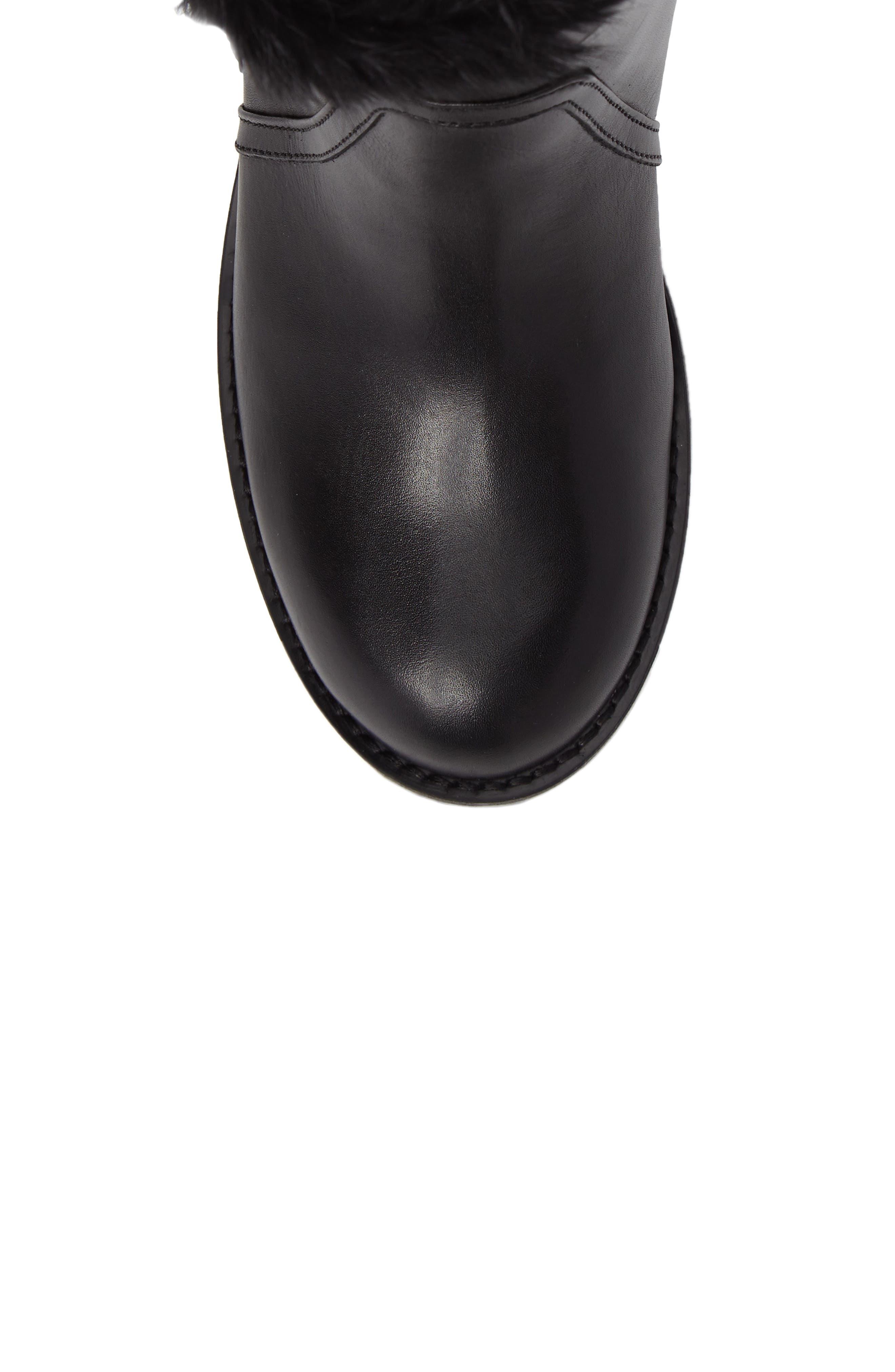 Rustic Genuine Rabbit Fur Cuff Boot,                             Alternate thumbnail 5, color,                             001