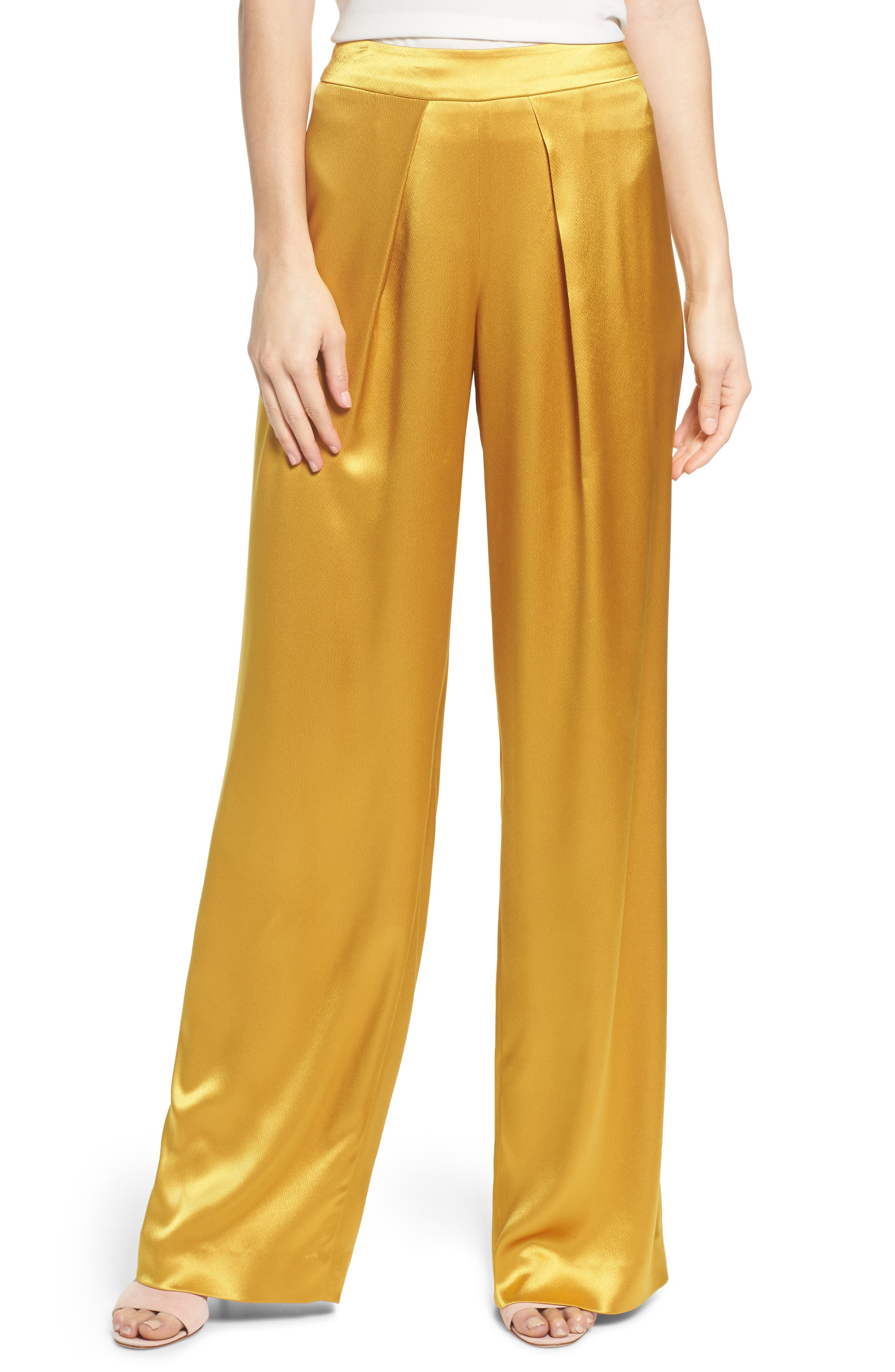Fancy Pleated Front Satin Pants,                         Main,                         color, 700