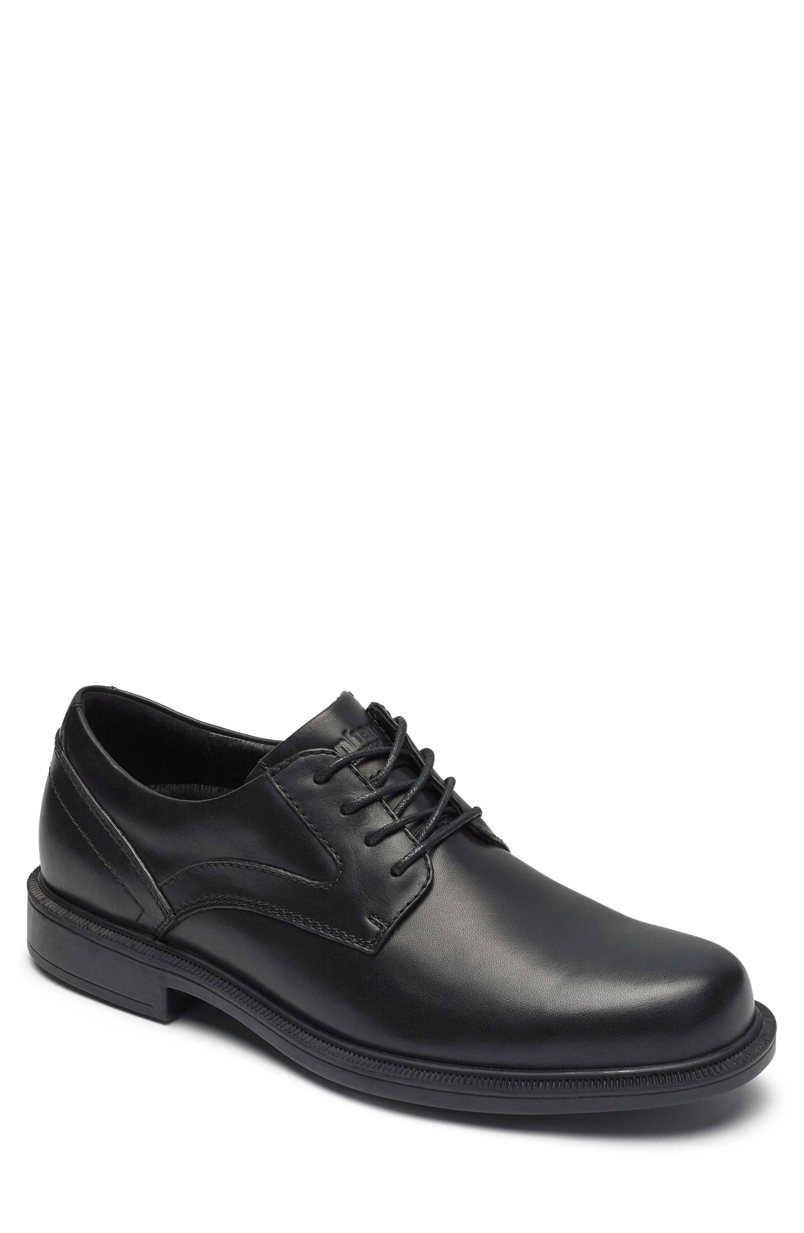 Jericho Plain Toe Derby,                             Main thumbnail 1, color,                             BLACK LEATHER