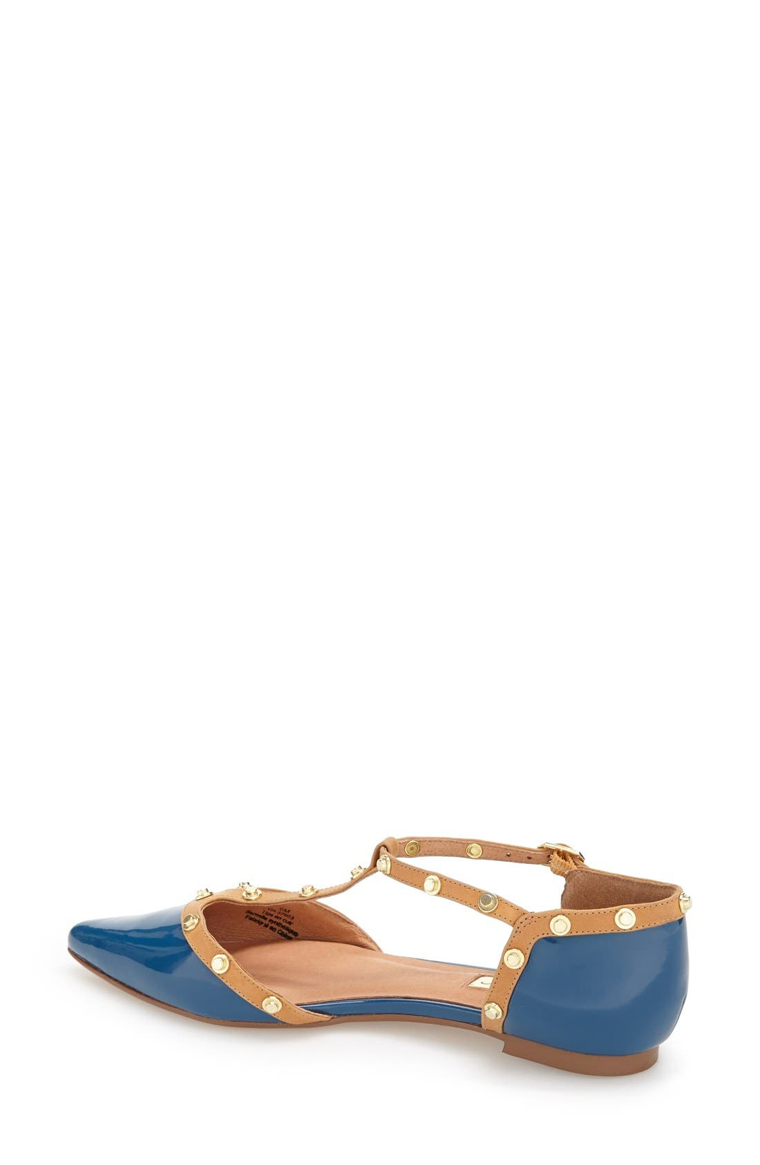 'Olson' Pointy Toe Studded T-Strap Flat,                             Alternate thumbnail 60, color,