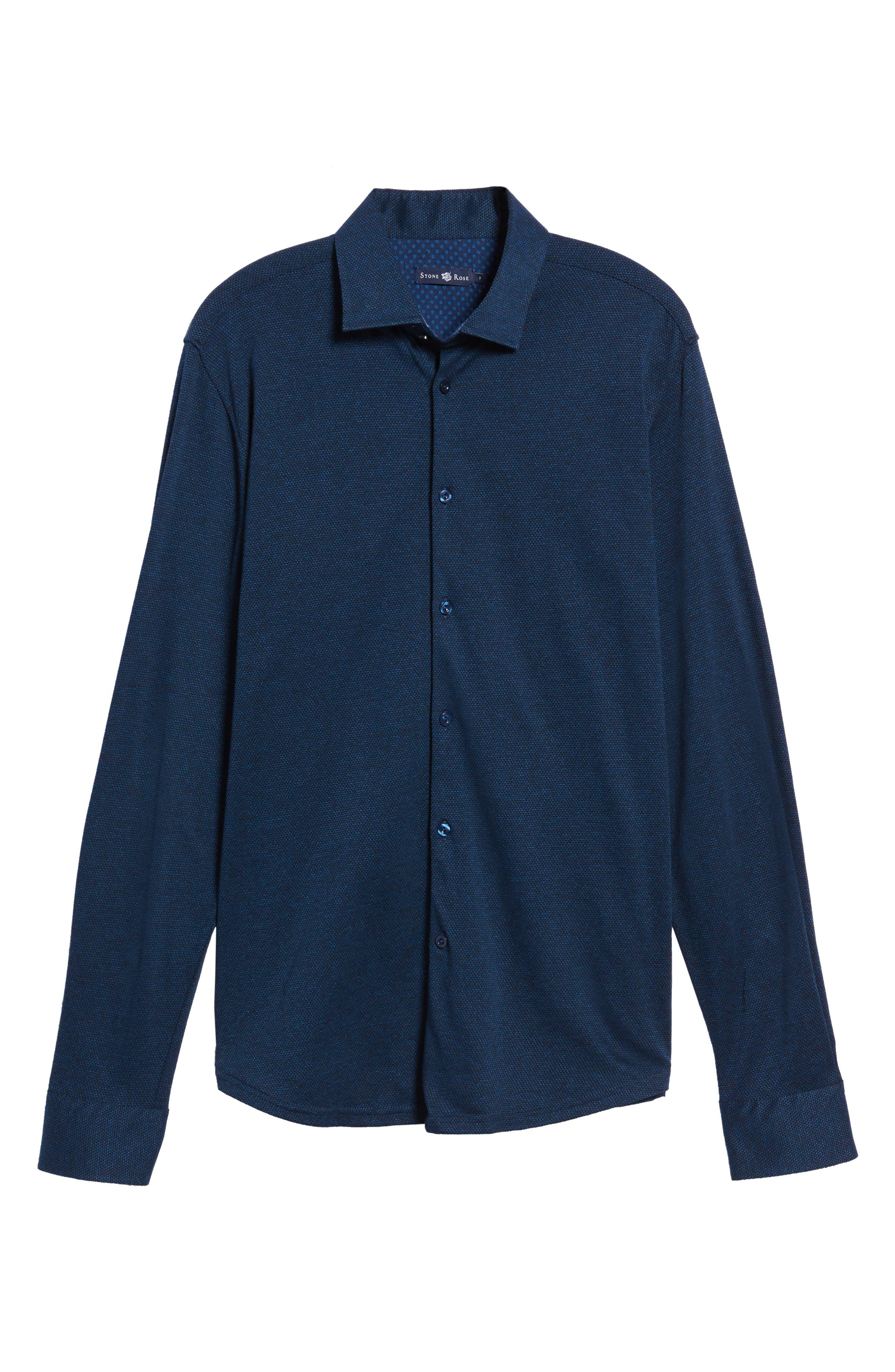 Slim Fit Diamond Jacquard Knit Sport Shirt,                             Alternate thumbnail 6, color,                             NAVY
